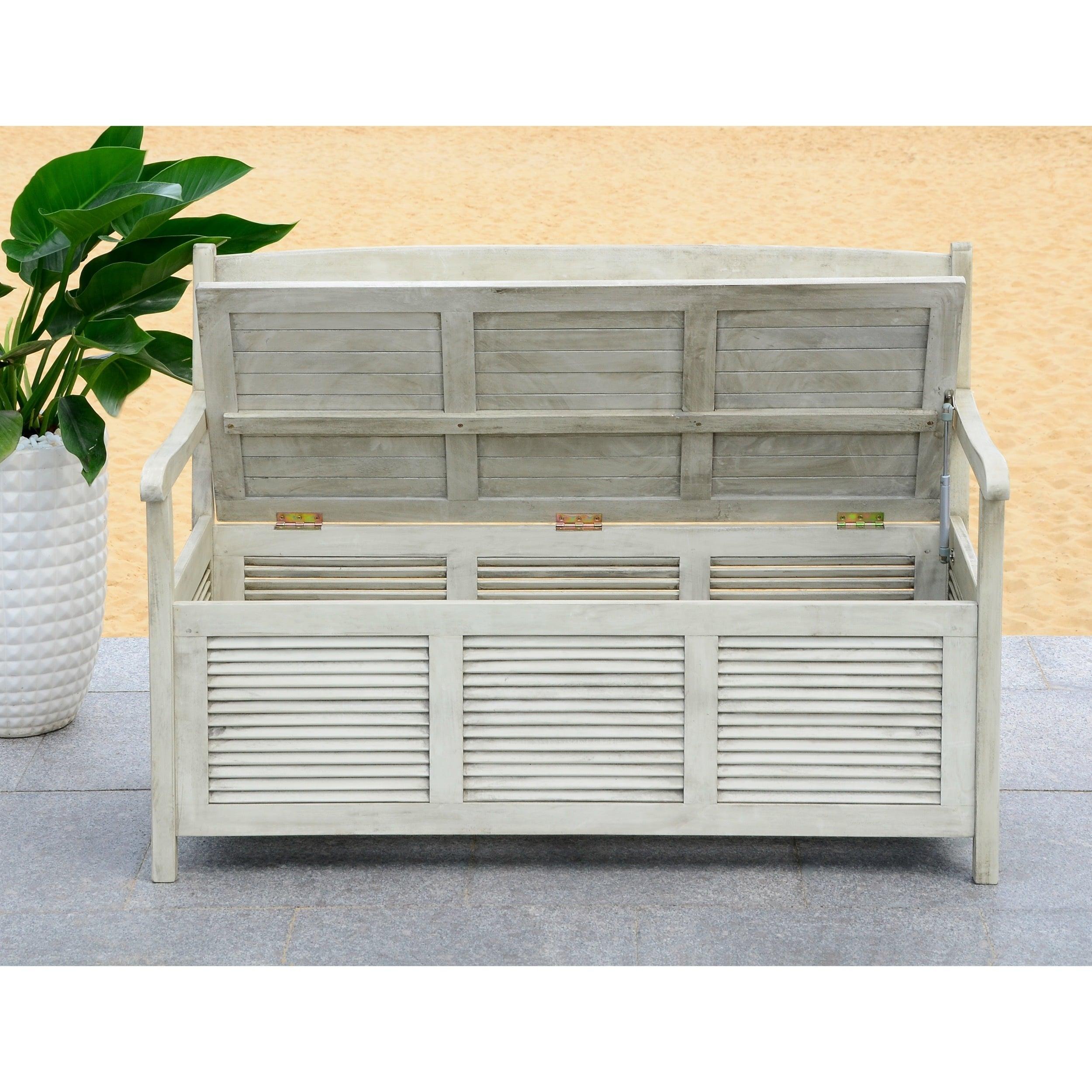 Safavieh Outdoor Living Brisbane Distressed White Storage Bench 50 X 24 35 2