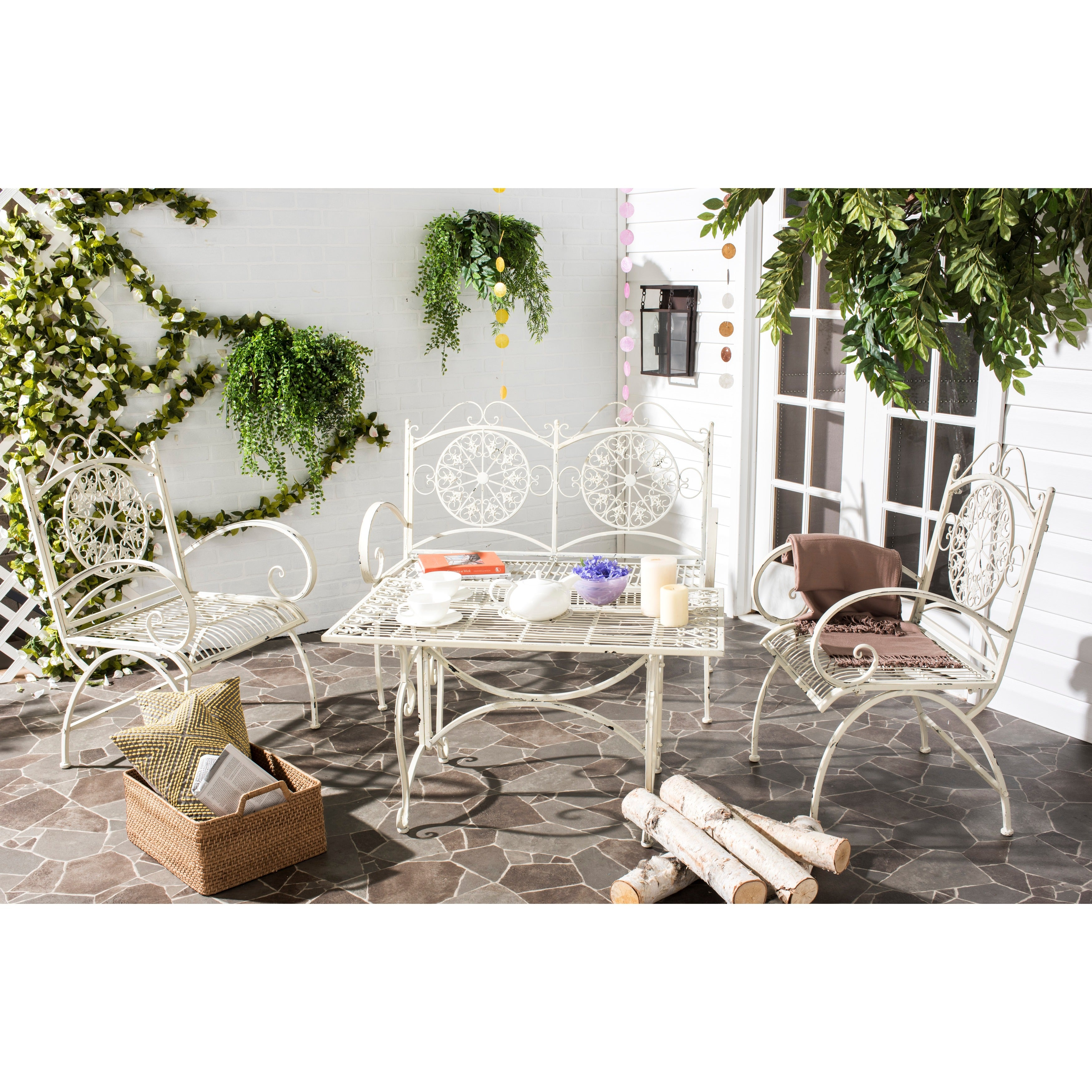 Shop Safavieh Outdoor Living Rustic Sophie Antique White Iron Patio Set  (4 Piece)   Free Shipping Today   Overstock.com   10300216