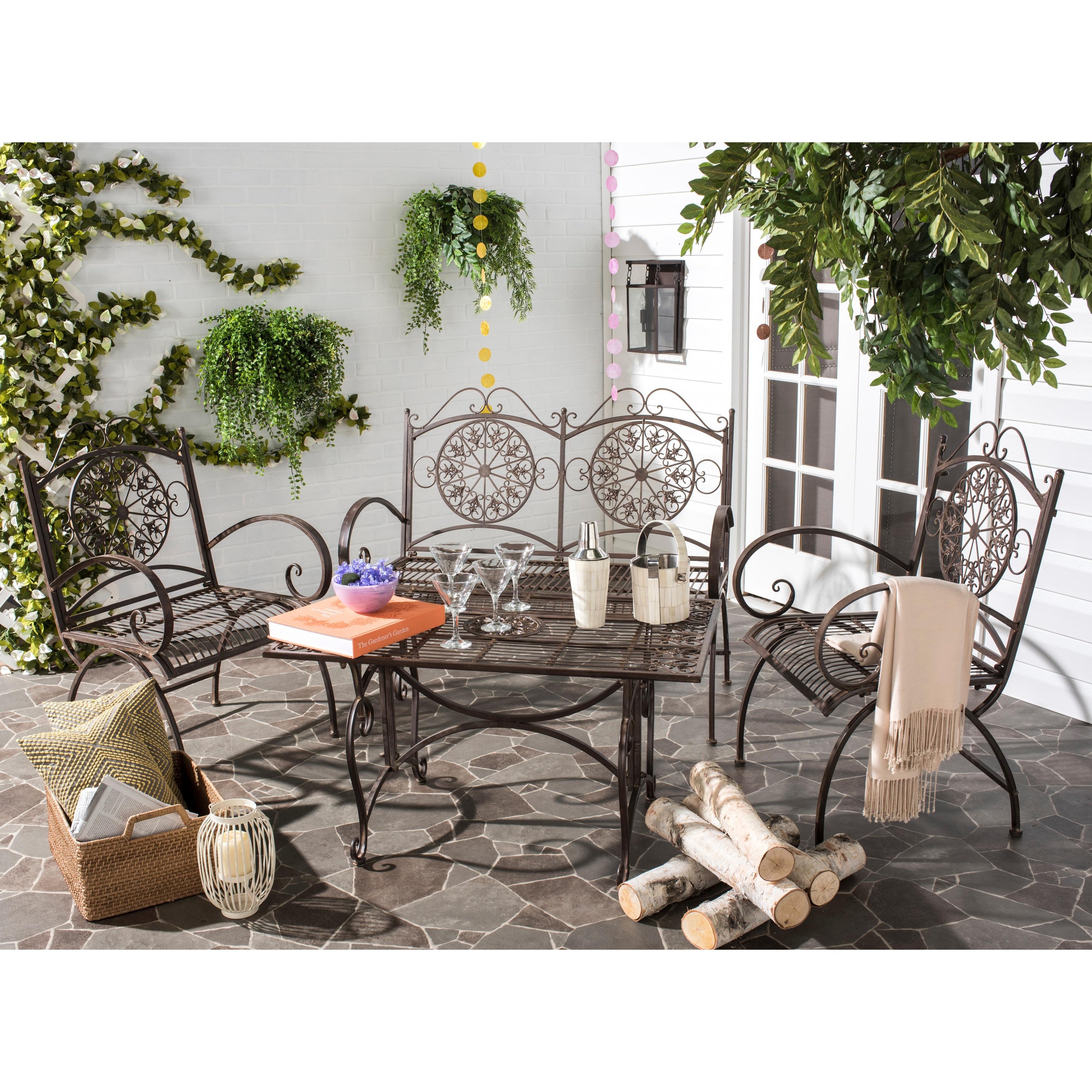 shop safavieh outdoor living rustic sophie rustic brown iron patio rh overstock com rustic metal outdoor chairs rustic wrought iron outdoor furniture