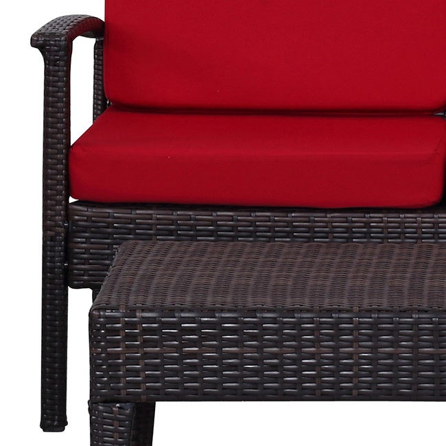 Shop Safavieh Outdoor Living Myers Brown/ Red Patio Set (4 Piece)   Free  Shipping Today   Overstock.com   10300222