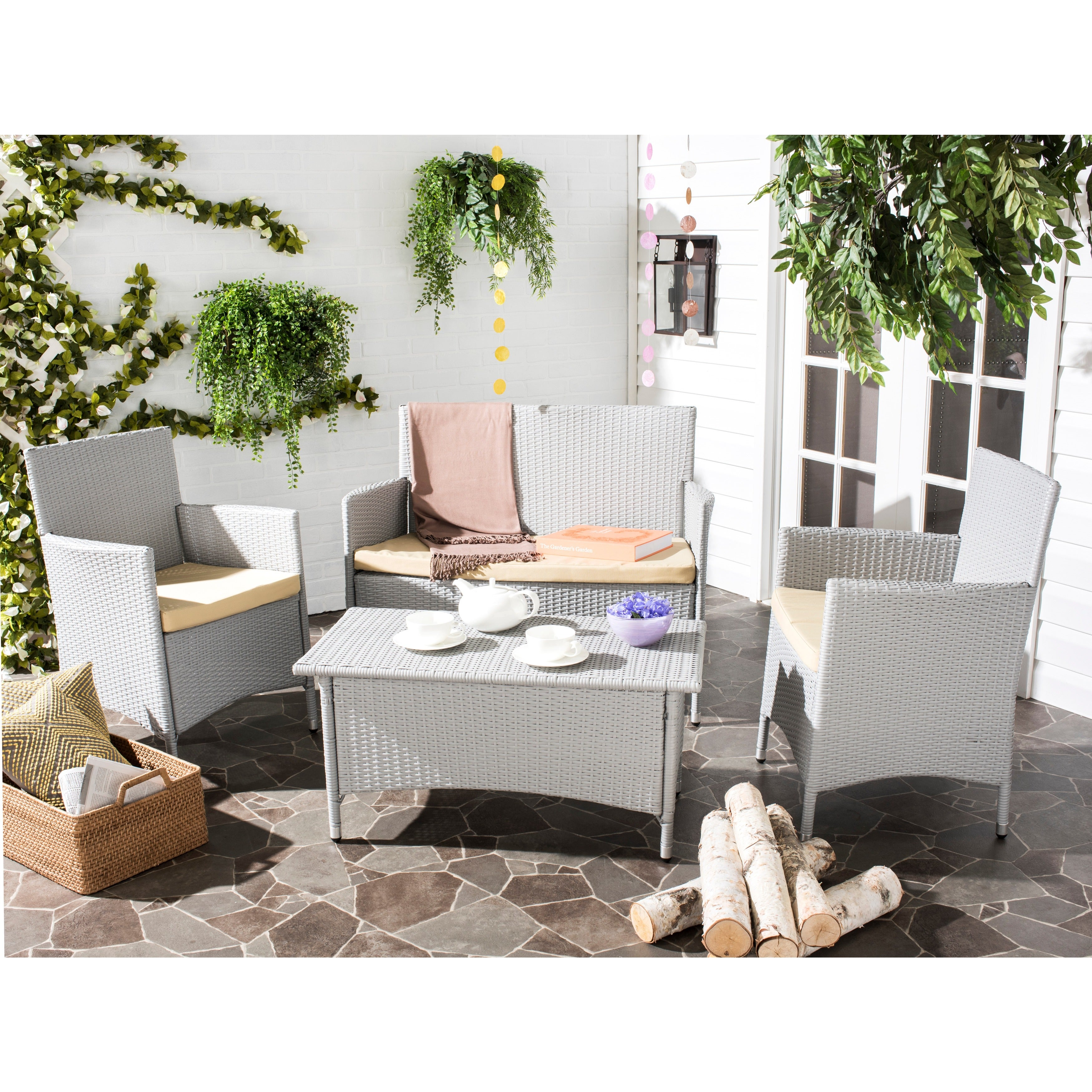 Shop Safavieh Outdoor Living Mojavi Grey/ Beige Wicker Patio Set (4 ...