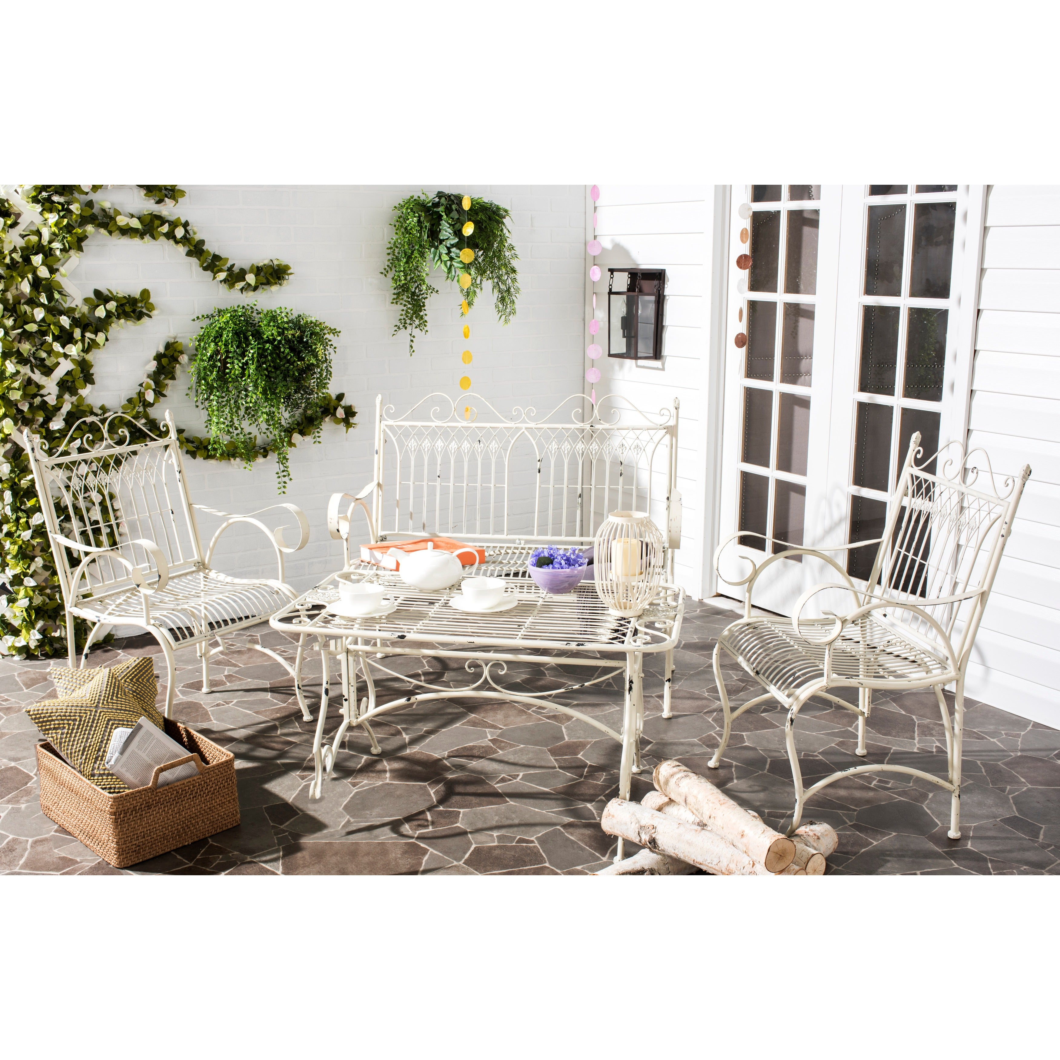 Shop Safavieh Outdoor Living Rustic Leah Antique White Iron Patio Set  (4 Piece)   Free Shipping Today   Overstock.com   10300227