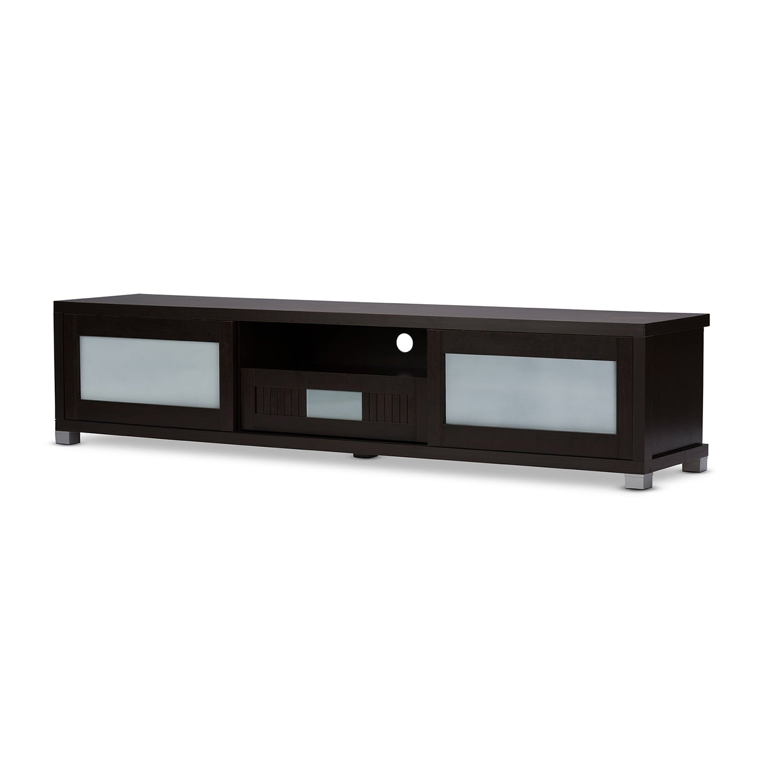Charmant Shop Baxton Studio Temple Contemporary Dark Brown Wood 70 Inch TV Cabinet  With 2 Sliding Doors And 1 Drawer   Free Shipping Today   Overstock.com    10302501