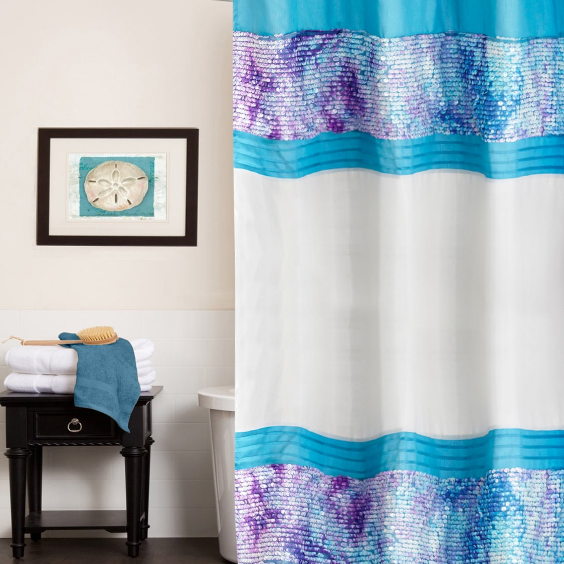 Shop Shimmering Aqua Seashell Shower Curtain And Hooks Set Or Separates
