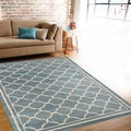 Trellis Contemporary Modern Design Blue Area Rug (7'10 x 10'2)