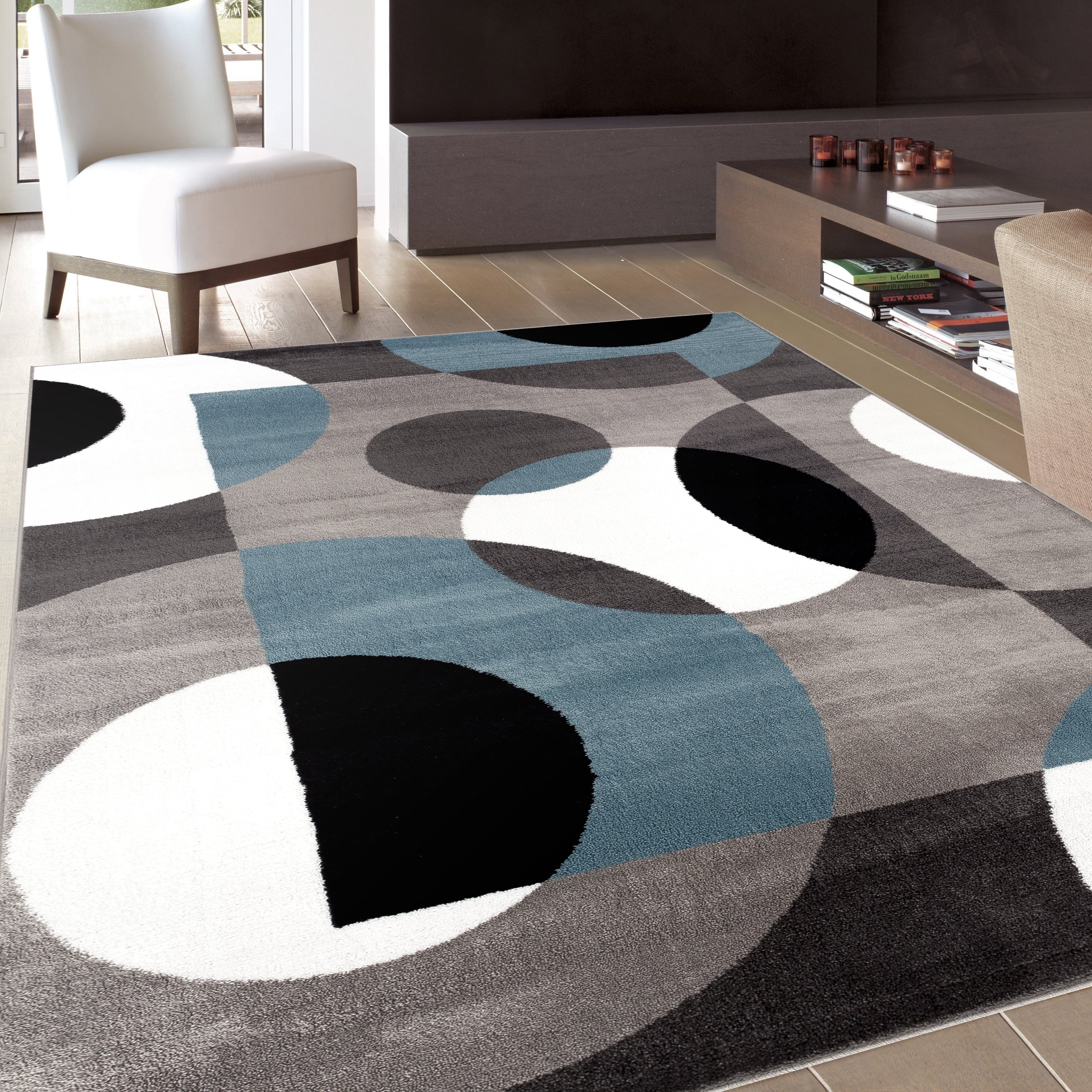 Modern Circles Blue Area Rug (8' x 10') - Free Shipping Today -  Overstock.com - 17416031