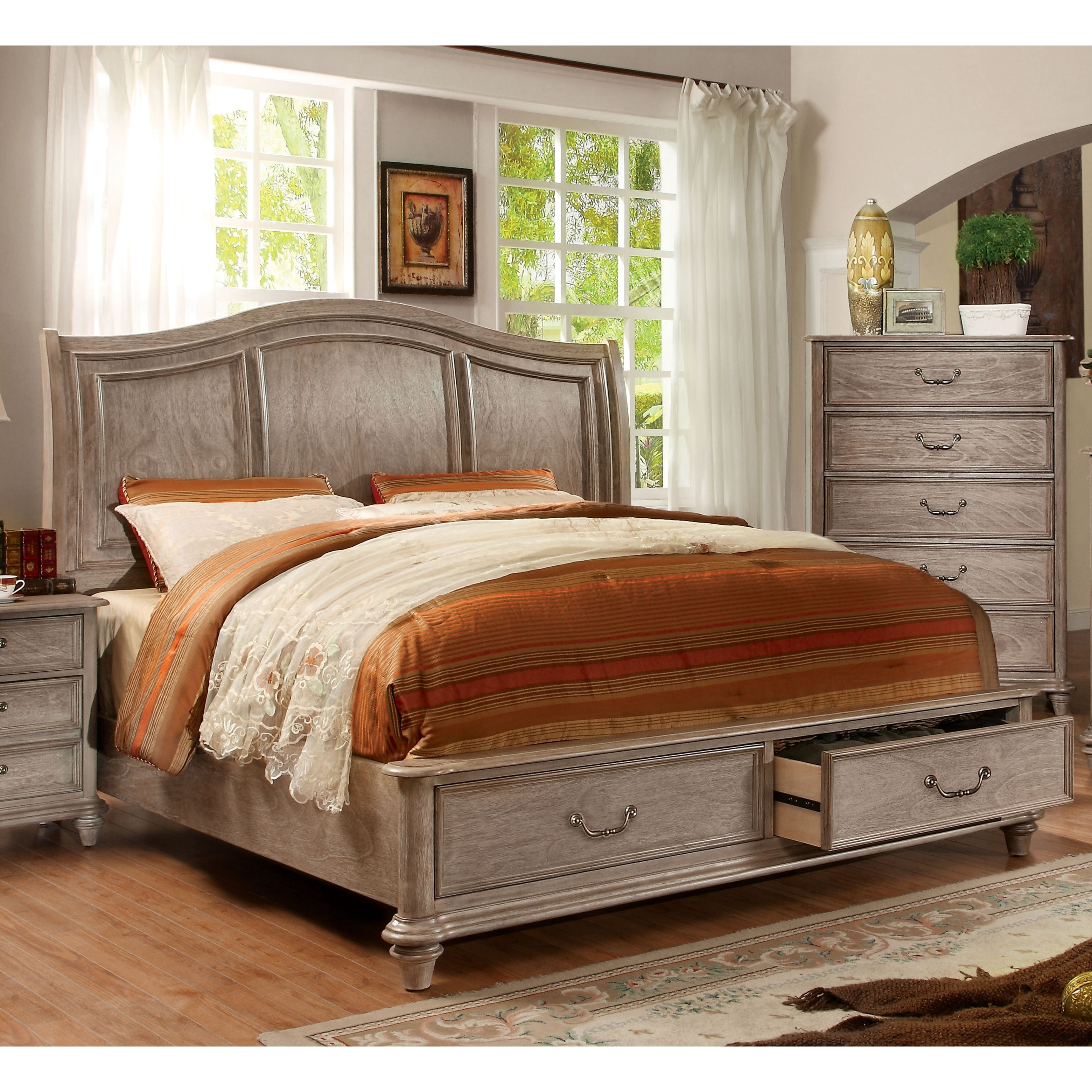 Minka III Traditional Rustic Grey Storage Platform Bed By FOA