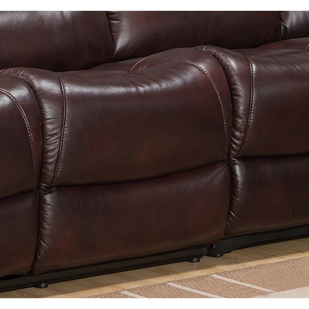 Shop Hillrose Top Grain Dark Burgundy Leather Reclining Sectional Sofa    Free Shipping Today   Overstock.com   10303506