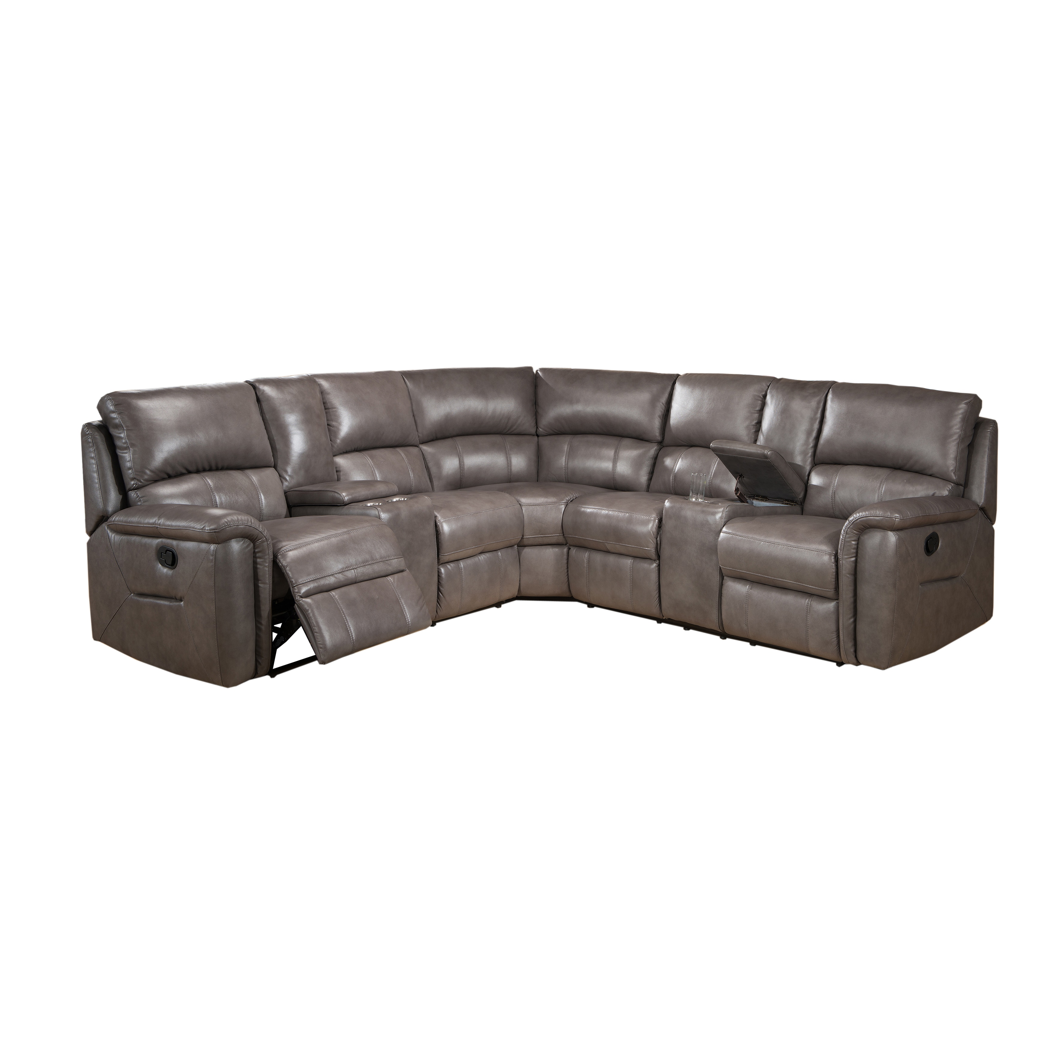 Cortez Premium Top Grain Gray Leather Reclining Sectional Sofa   Free  Shipping Today   Overstock.com   17416500