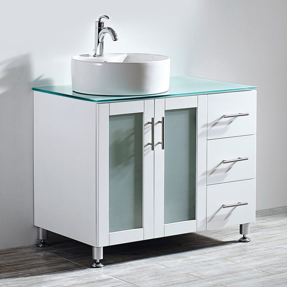 Shop Vinnova Tuscany 36-inch Single Vanity in White with White ...