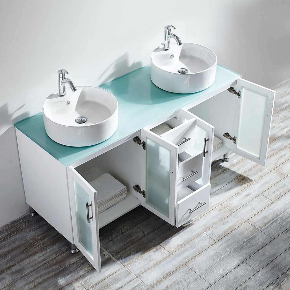 Shop Vinnova Tuscany 60-inch White Double Vanity with White Vessel ...
