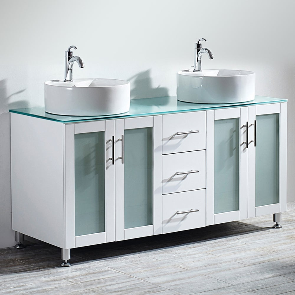 Shop Vinnova Tuscany 60 Inch White Double Vanity With White Vessel