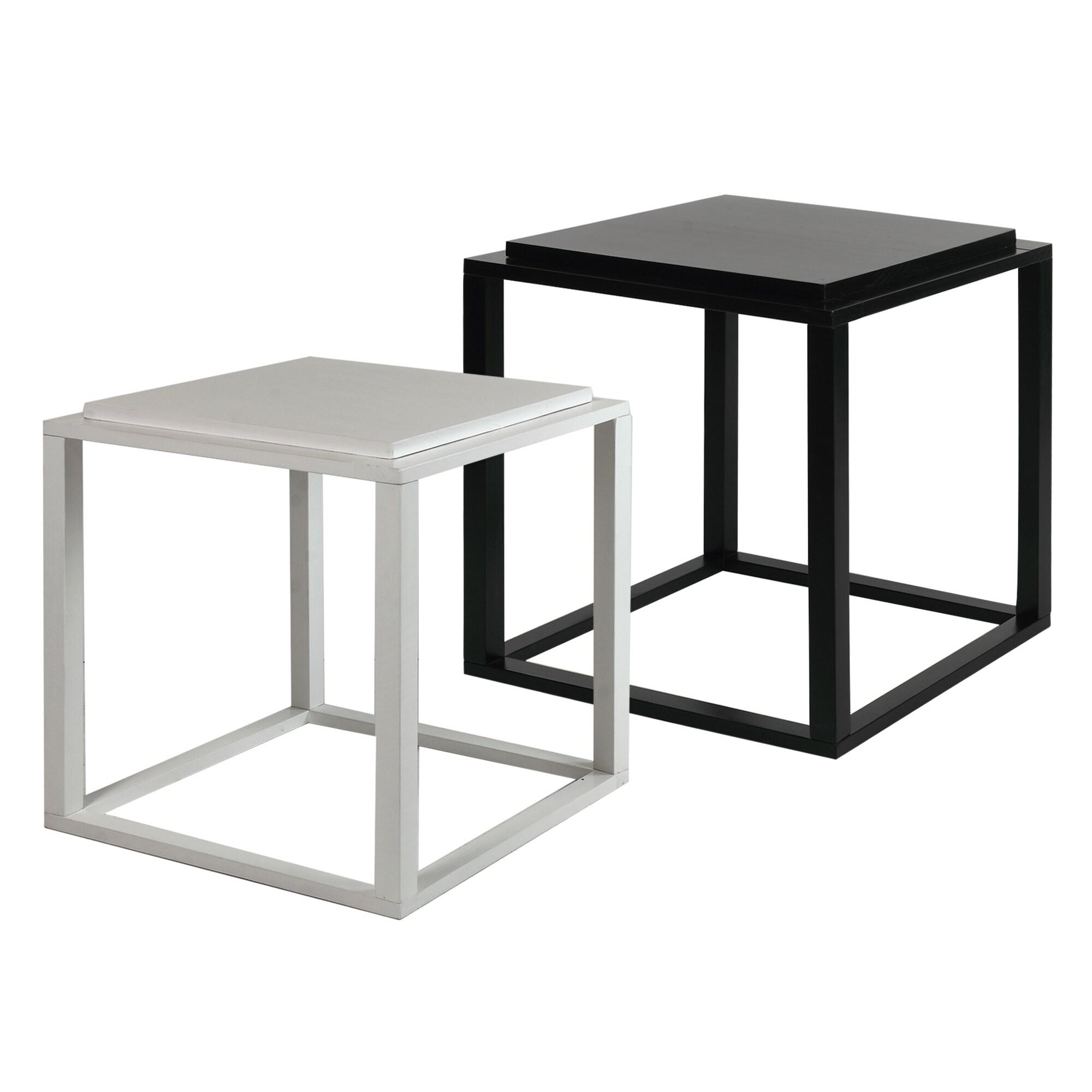 Modern Modular Black White Stacking Storage Cubes Set of 2