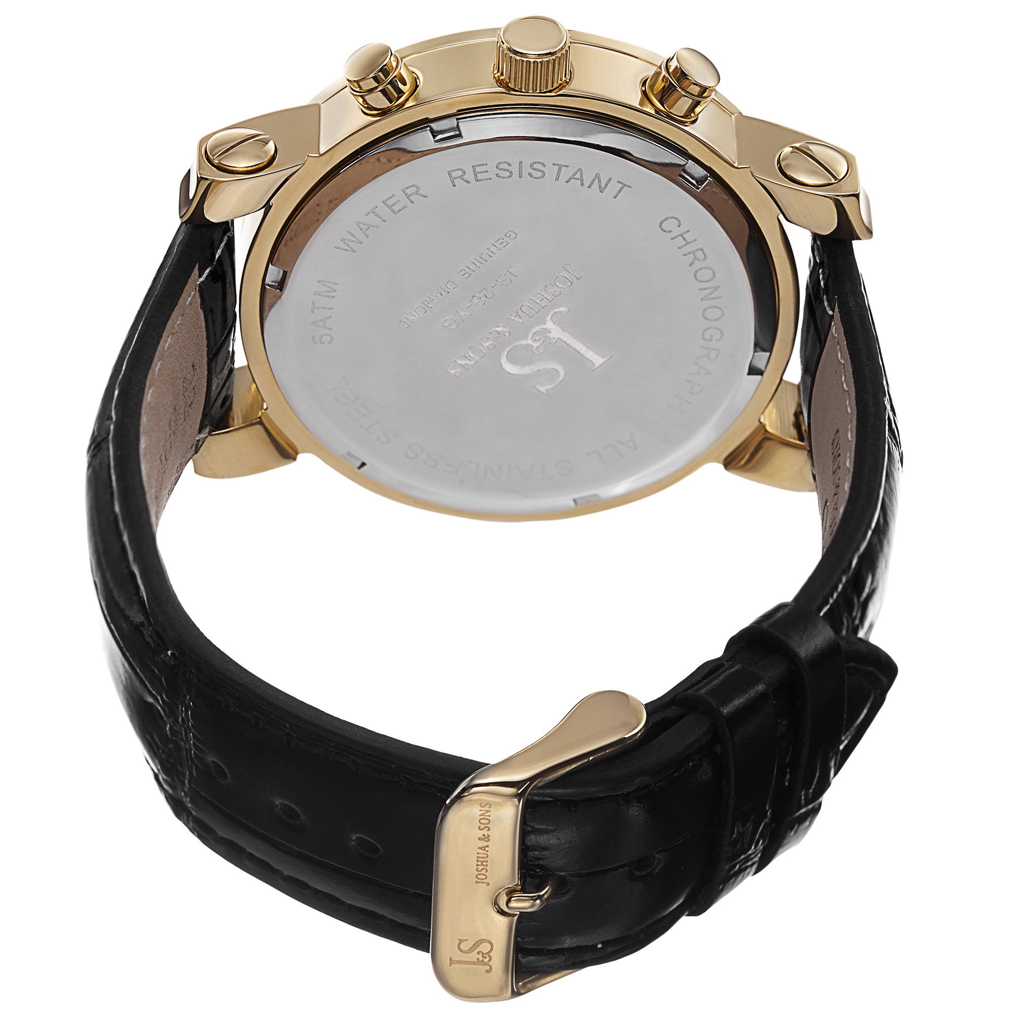 fc6397303 Shop Joshua & Sons Men's Diamond Chronograph Leather Black Strap Watch -  Gold - Free Shipping Today - Overstock - 10305533