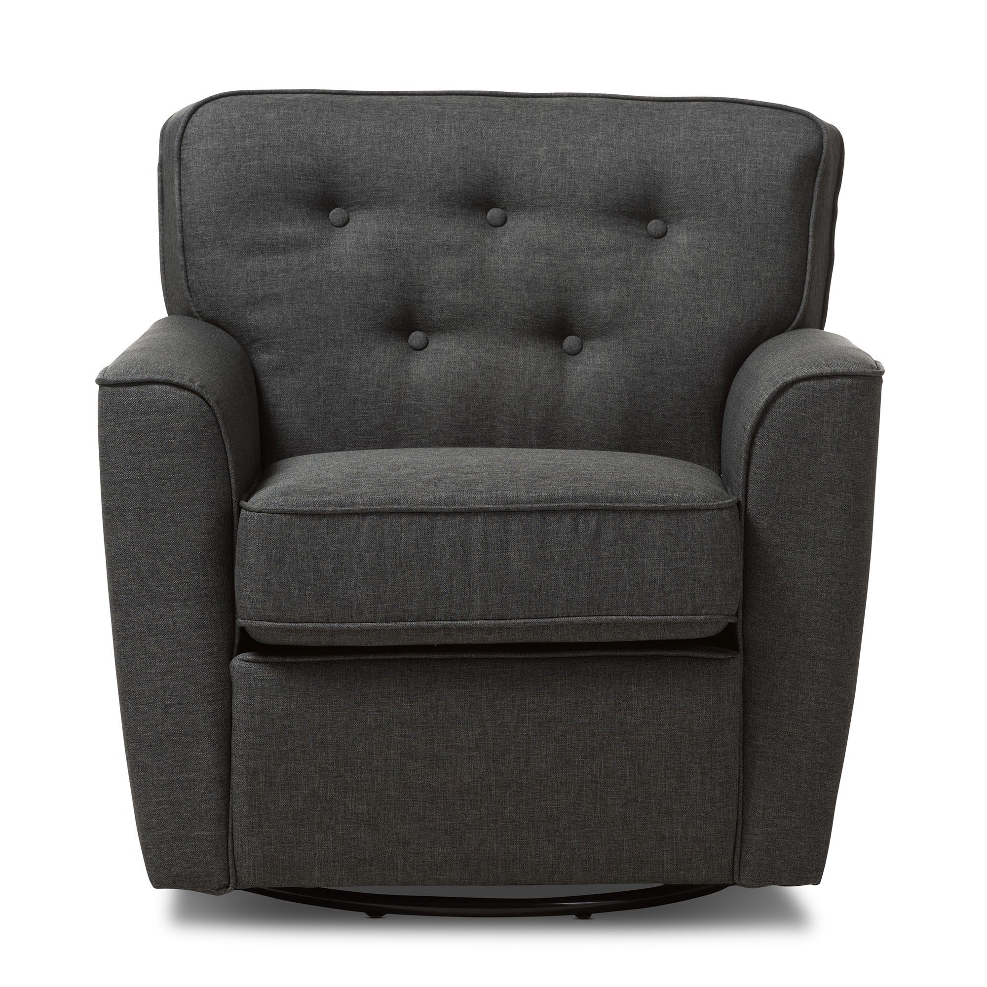 Shop Baxton Studio Canberra Contemporary Grey Tufted Swivel Armchair   Free  Shipping Today   Overstock.com   10305558