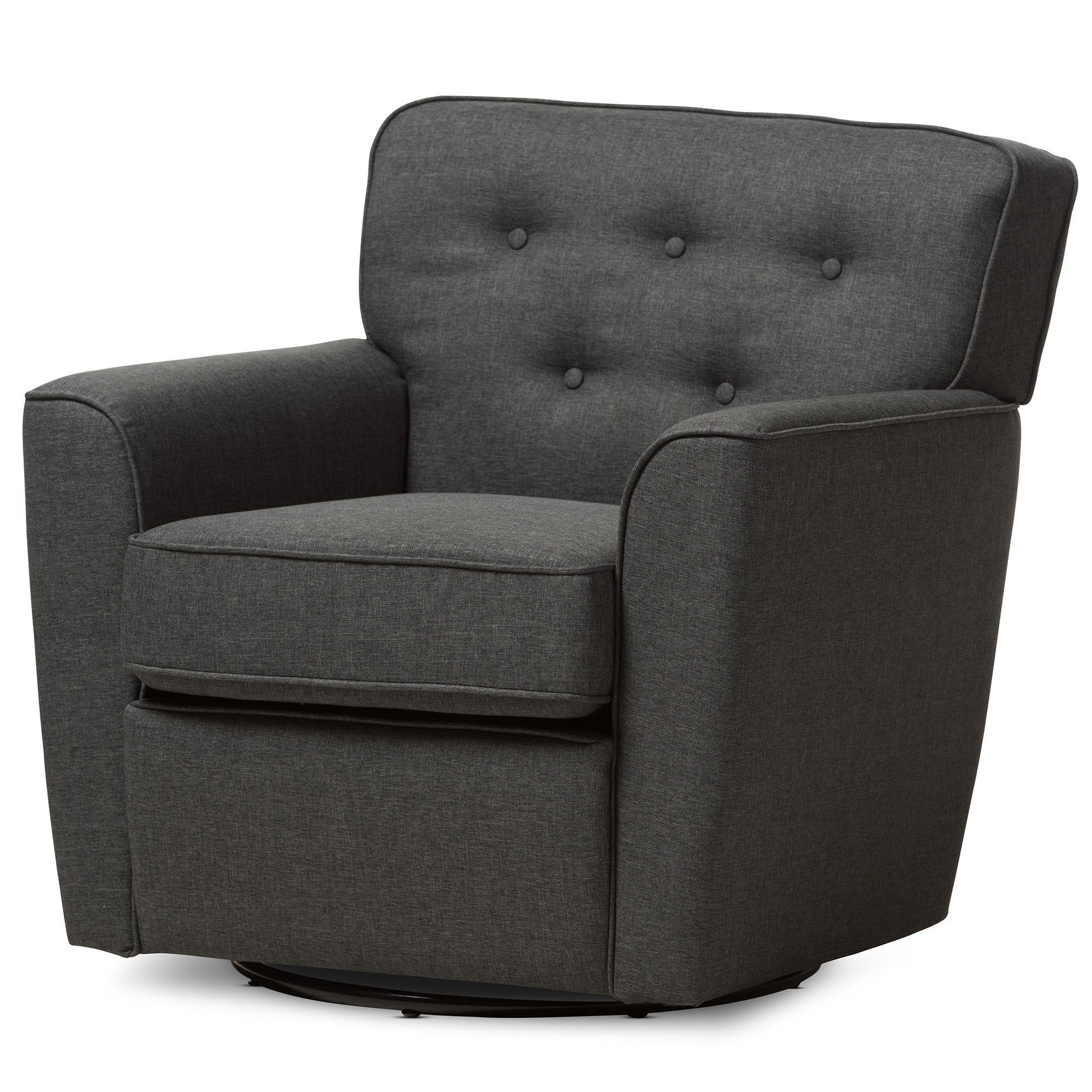 Merveilleux Shop Baxton Studio Canberra Contemporary Grey Tufted Swivel Armchair   Free  Shipping Today   Overstock.com   10305558