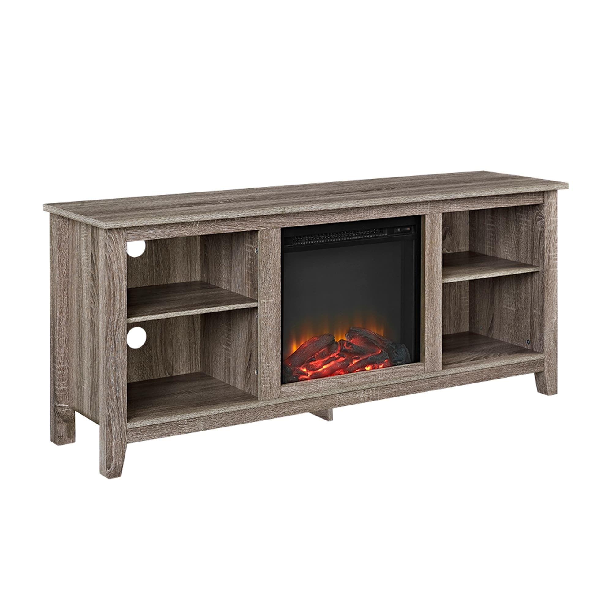 58 Inch Driftwood Wood Tv Stand With Fireplace Free Shipping  # Etagere Tv Bois