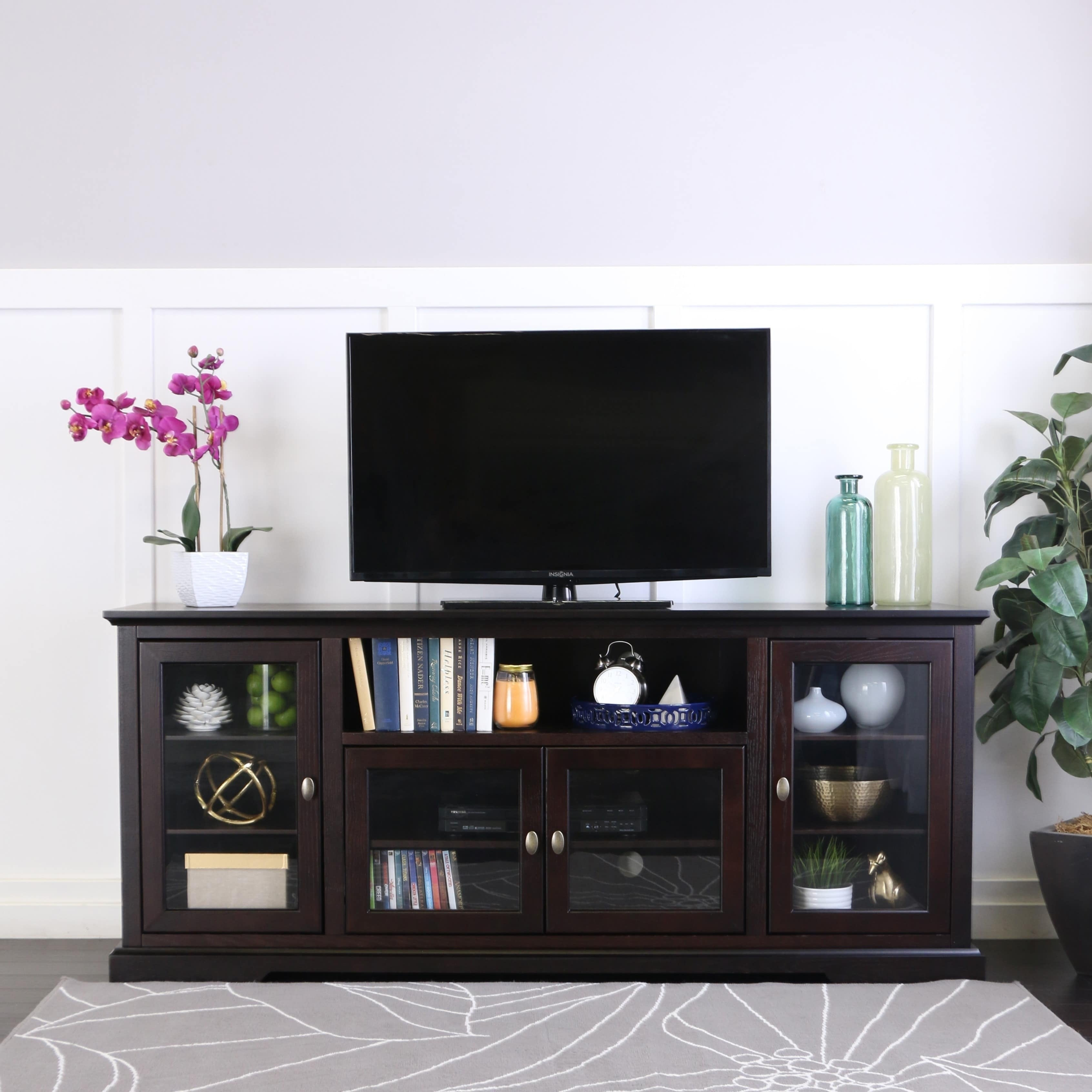 70 Highboy Tv Stand Console Espresso X 16 30h On Free Shipping Today 10309737