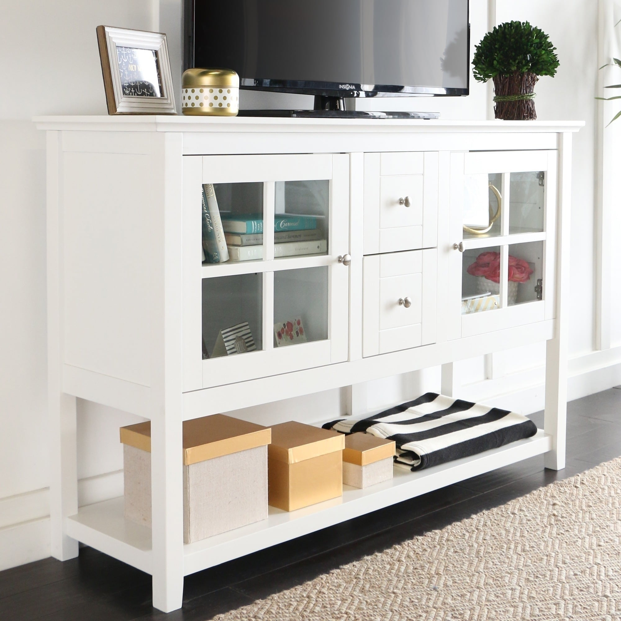 52 Tv Console Buffet Cabinet White X 16 35h Free Shipping Today 10309752
