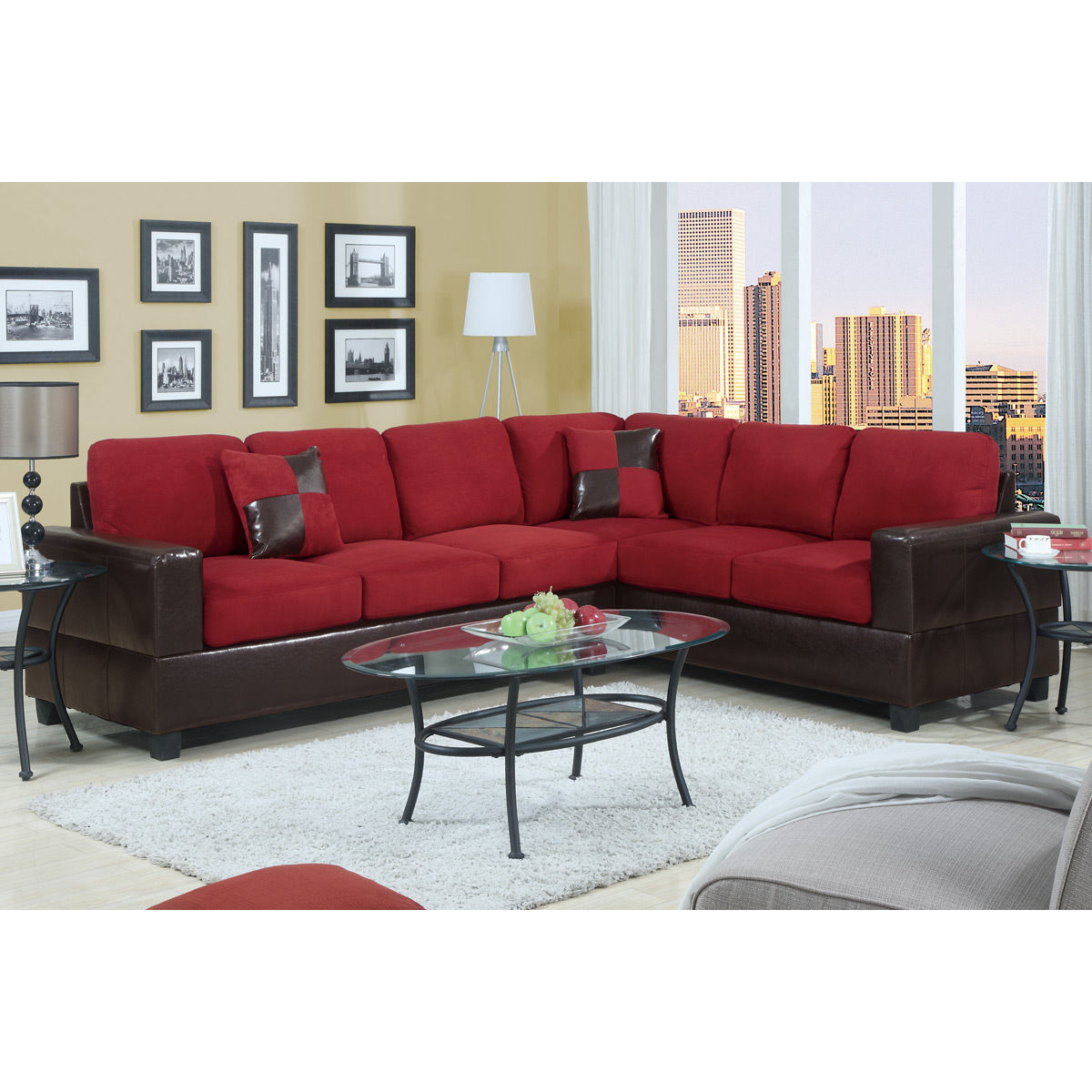 Shop 2 Piece Modern Microfiber And Faux Leather Sectional Sofa
