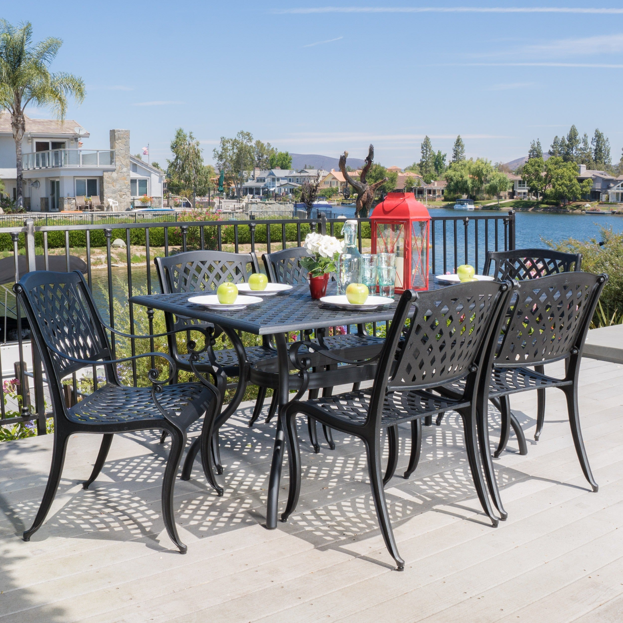Outdoor Cayman 7 piece Cast Aluminum Black Sand Dining Set by