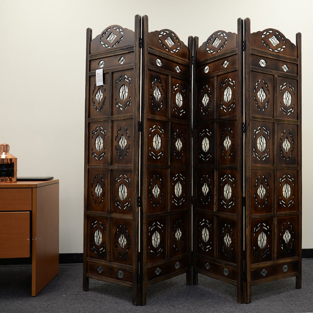 Shop kashmiri wood room divider 4 panel carved screen free shipping today overstock 10313356