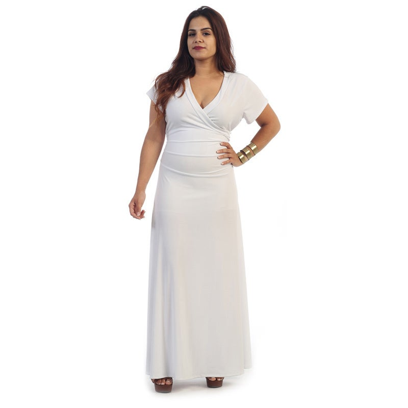 Shop Women\'s Plus Size Short Sleeve Maxi Dress - Free Shipping Today ...