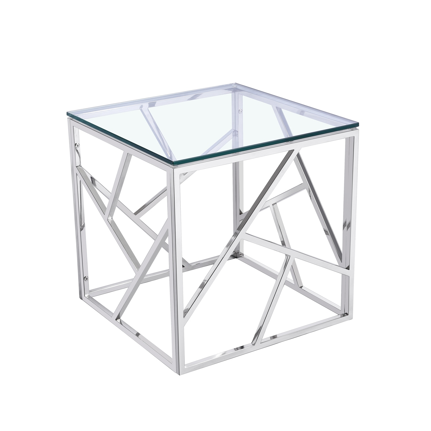 Shop Baxton Studio Bowman Contemporary Tempered Clear Glass End Table/ Side  Table With Sturdy Stainless Frame   Free Shipping Today   Overstock.com    ...
