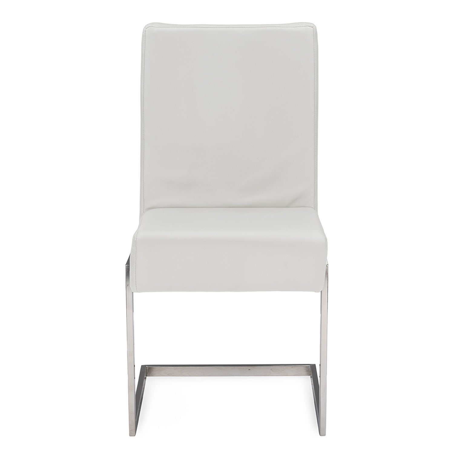 Contemporary white dining chairs Thetastingroomnyc Shop Set Of Greer Contemporary White Pu Leather Upholstered Armless Dining Chairs With Stainless Steel Base Free Shipping Today Overstock 10315297 Overstockcom Shop Set Of Greer Contemporary White Pu Leather Upholstered
