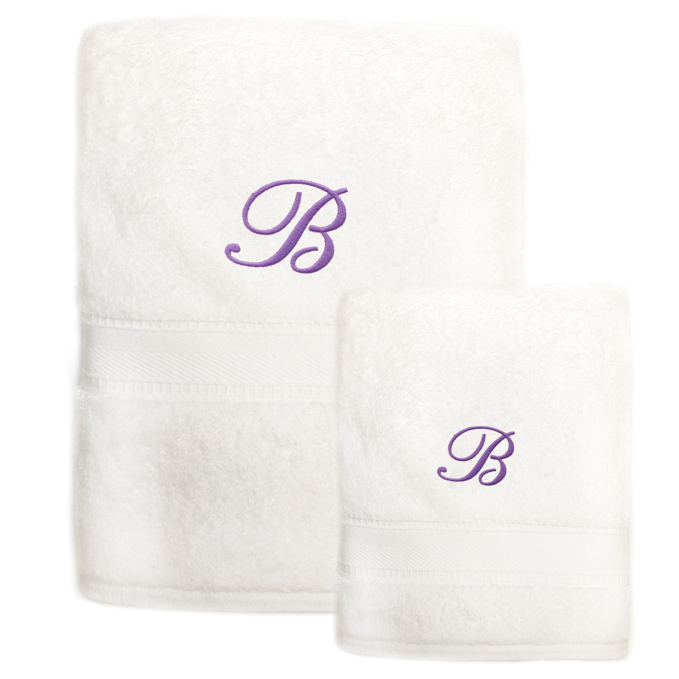 Sweet Kids 2-piece White Turkish Cotton Bath and Hand Towel Set with ...