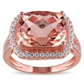 Miadora Rose Plated Sterling Silver Cushion-cut Imitation Morganite and Cubic Zirconia Halo Cocktail