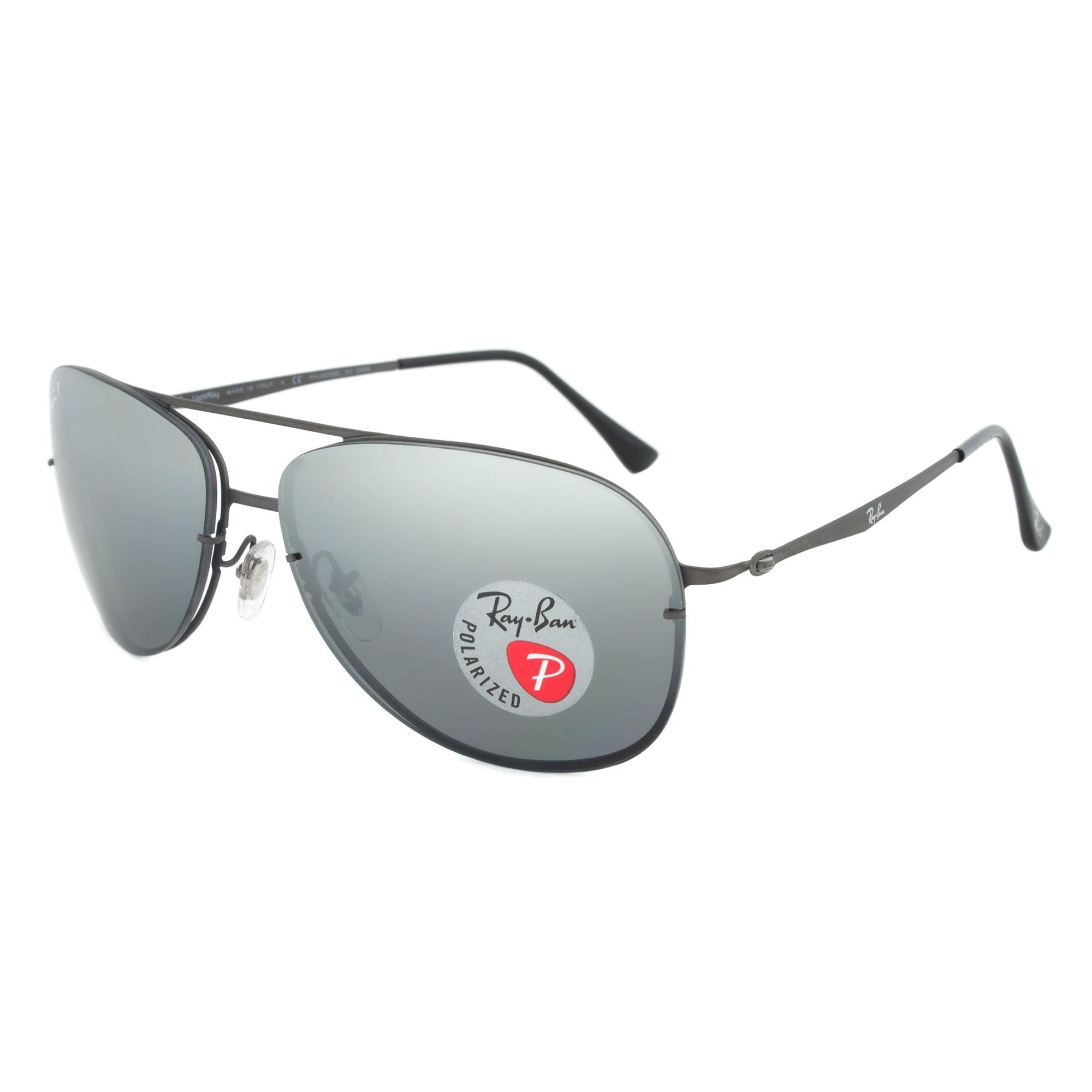 Shop Ray-Ban RB 8052 154/82 Polarized Aviator Sunglasses - Gunmetal ...