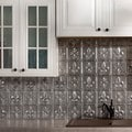Fasade Fleur de Lis Crosshatch Silver 18-square Foot Backsplash Kit