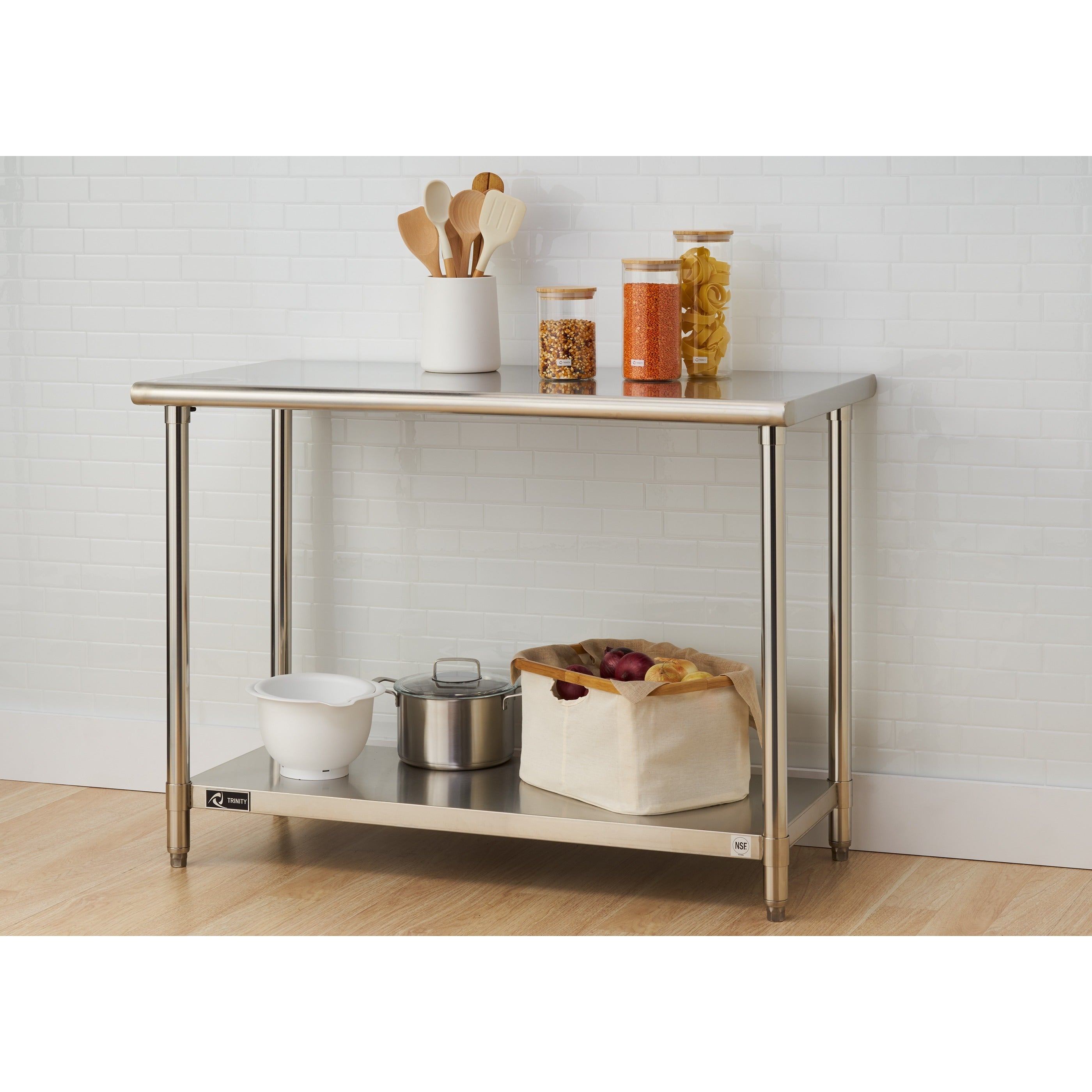 Awesome Trinity EcoStorage Stainless Steel Table   Free Shipping Today   Overstock    17431562