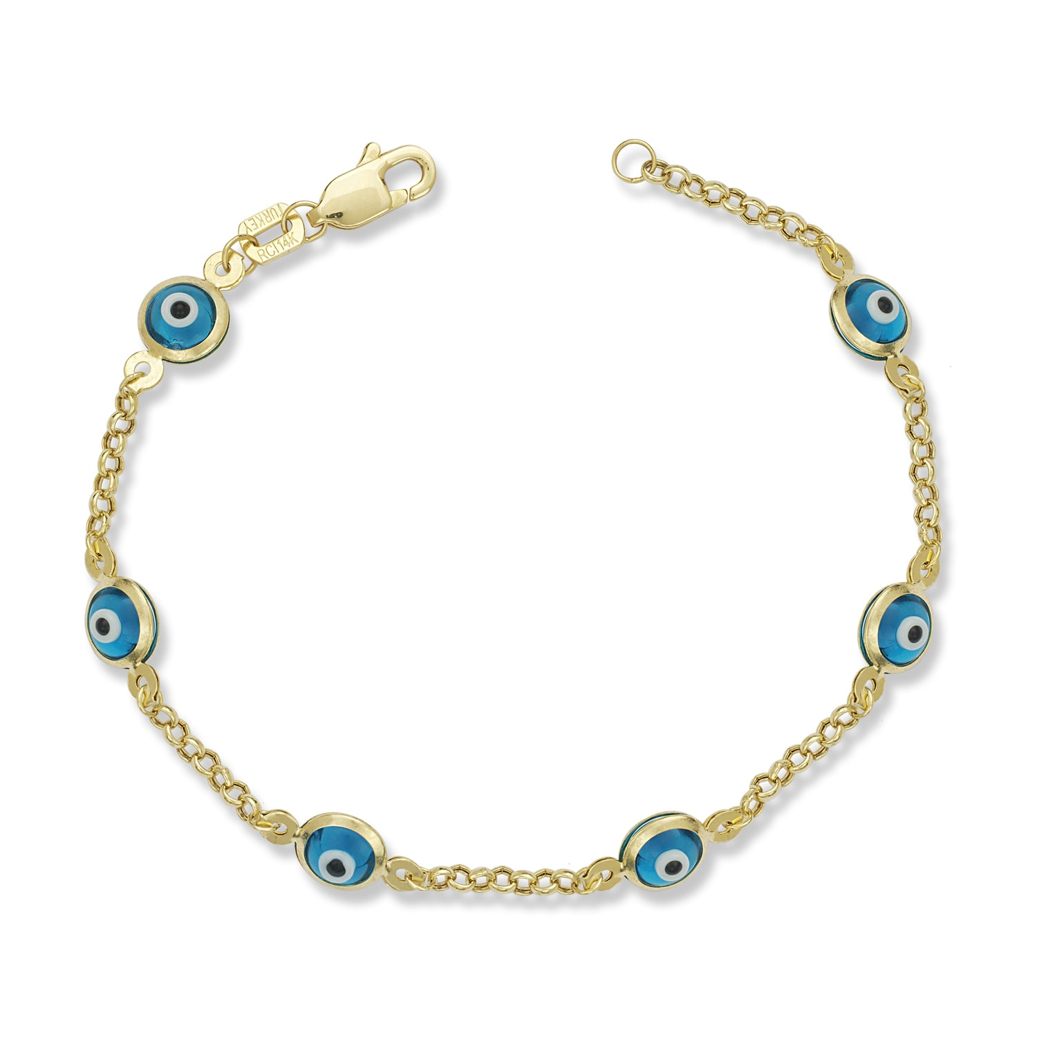 7e5c8216ed0c6 Shop childrens yellow gold enamel evil eye inch charm bracelet on sale free  shipping today overstock