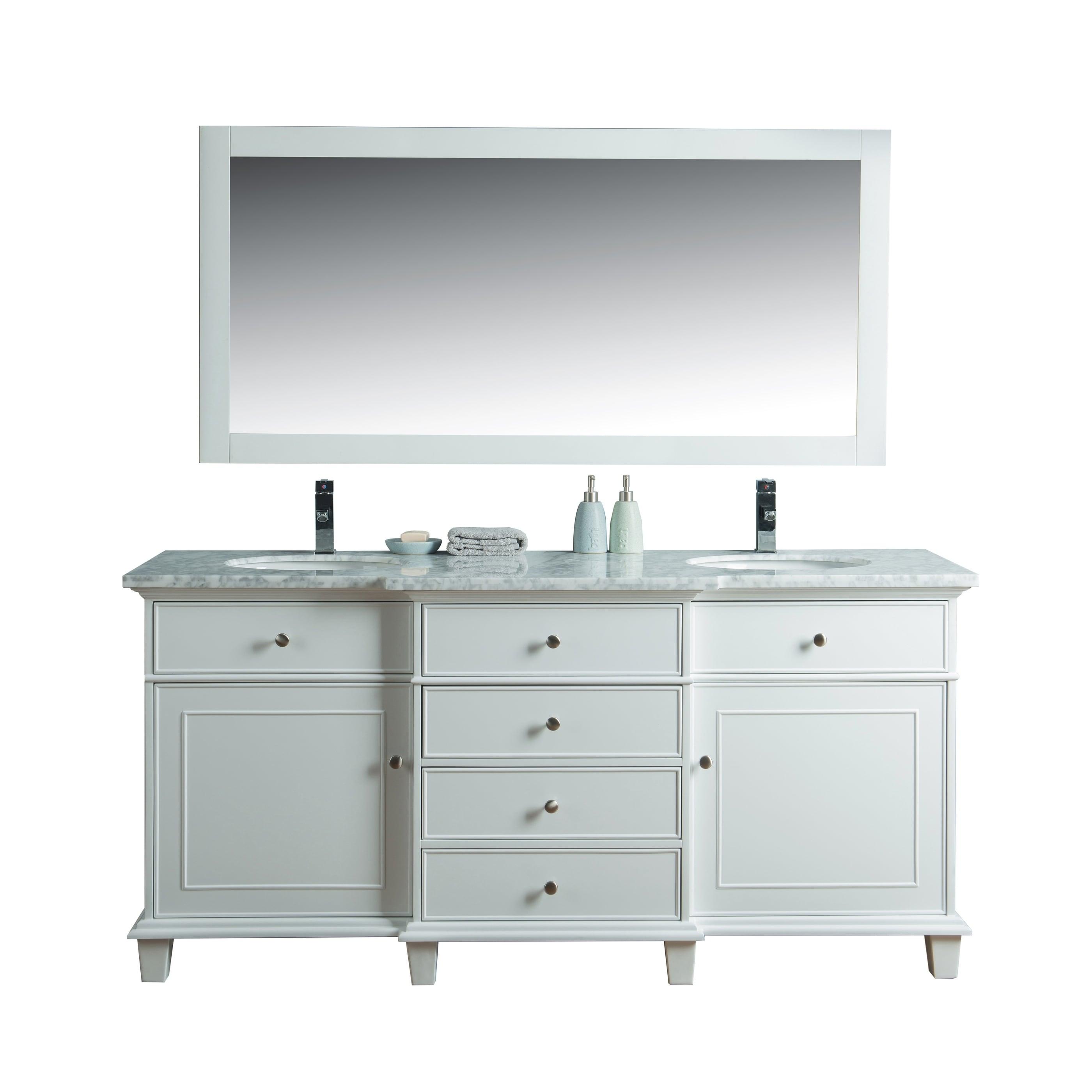 Shop Stufurhome Cadence White 60-inch Double Sink Bathroom Vanity ...
