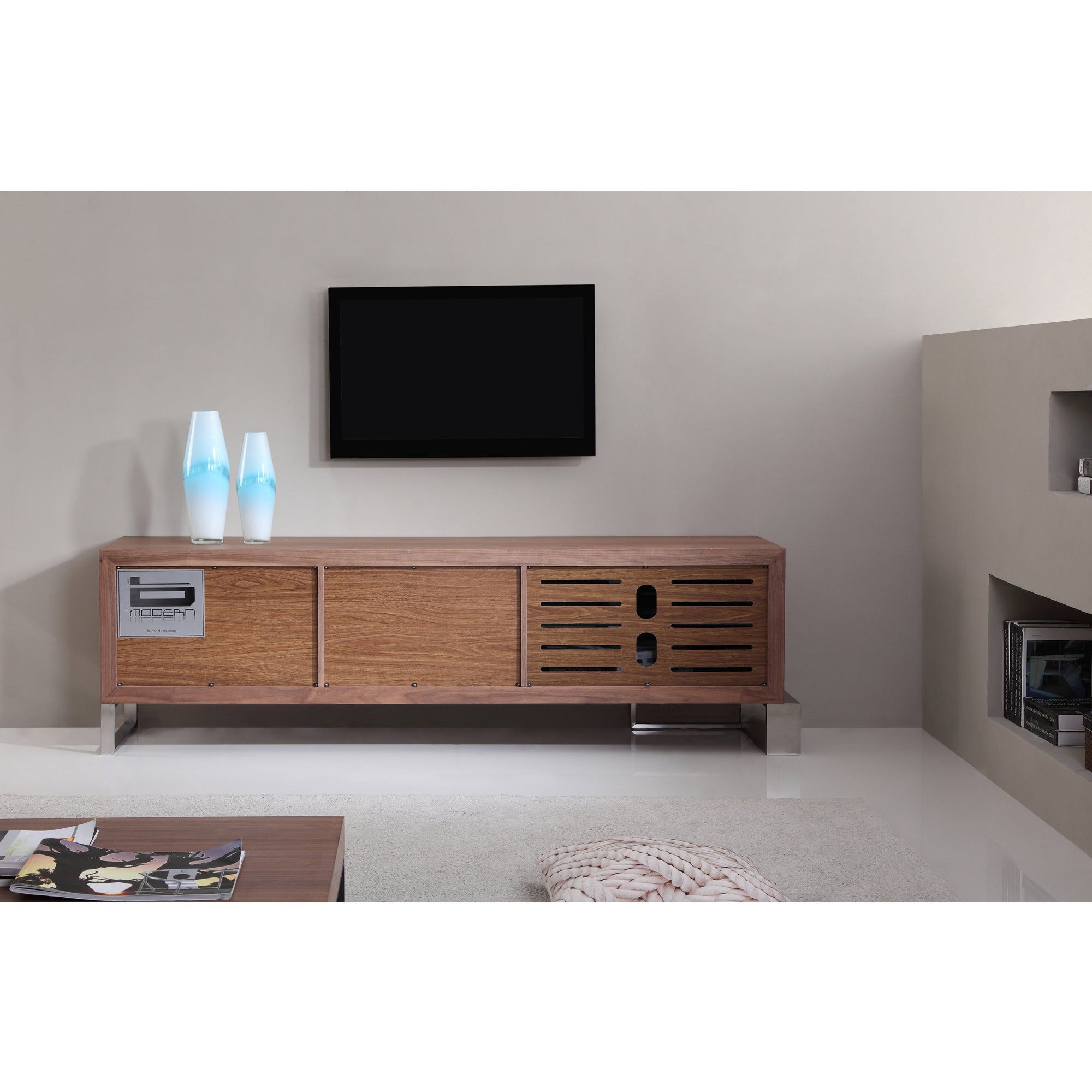 Entertainer Light Walnut Stainless Steel Modern Tv Stand With Ir Gl On Free Shipping Today 10326032