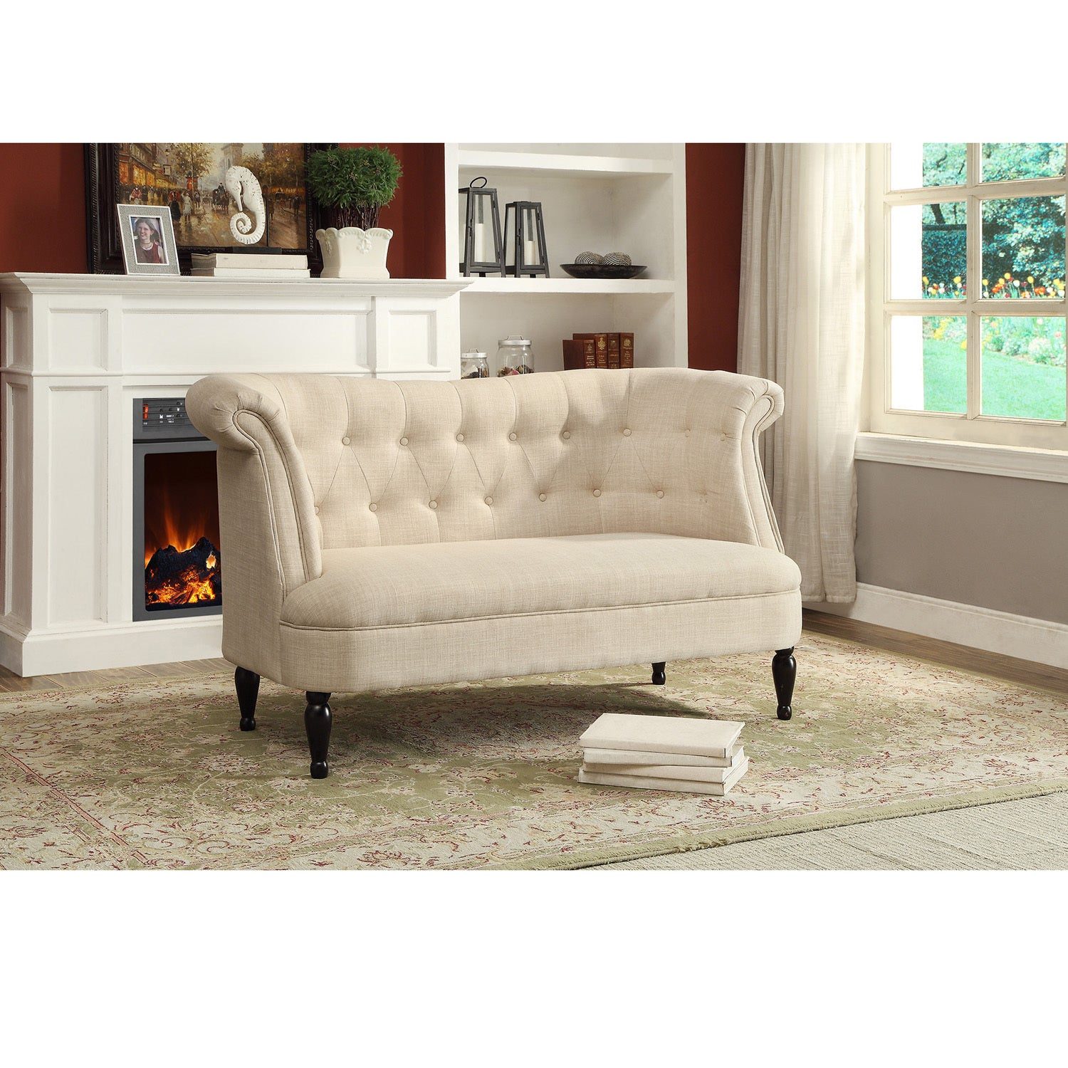 Erica Victorian Style Contemporary Beige Linen Fabric Upholstered ...