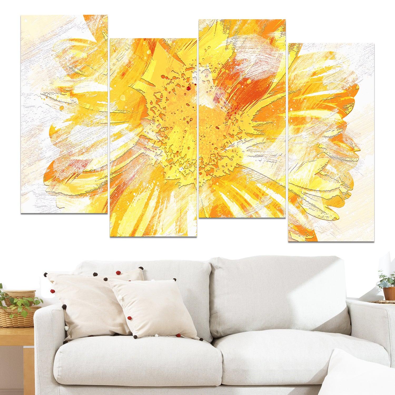 Shop Design Art \'Yellow Flower\' 48 x 28-inch 4-panel Canvas Art ...