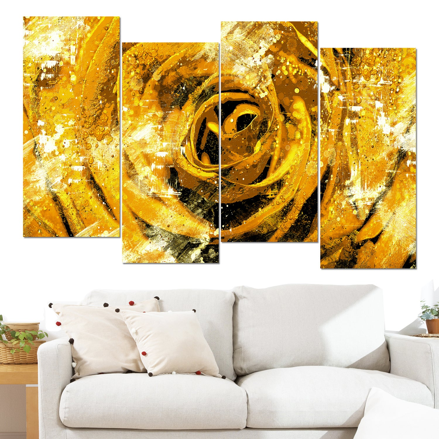 Design Art \'Center of the Yellow Rose\' 48 x 28-inch 4-panel Canvas ...