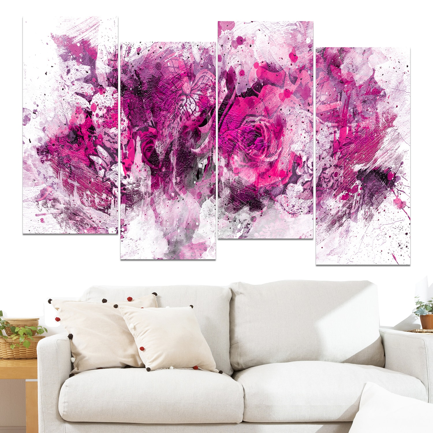 Design Art Pink Purple Flowers 48 X 28 Inch 4 Panel Canvas Print Free Shipping Today 10327788
