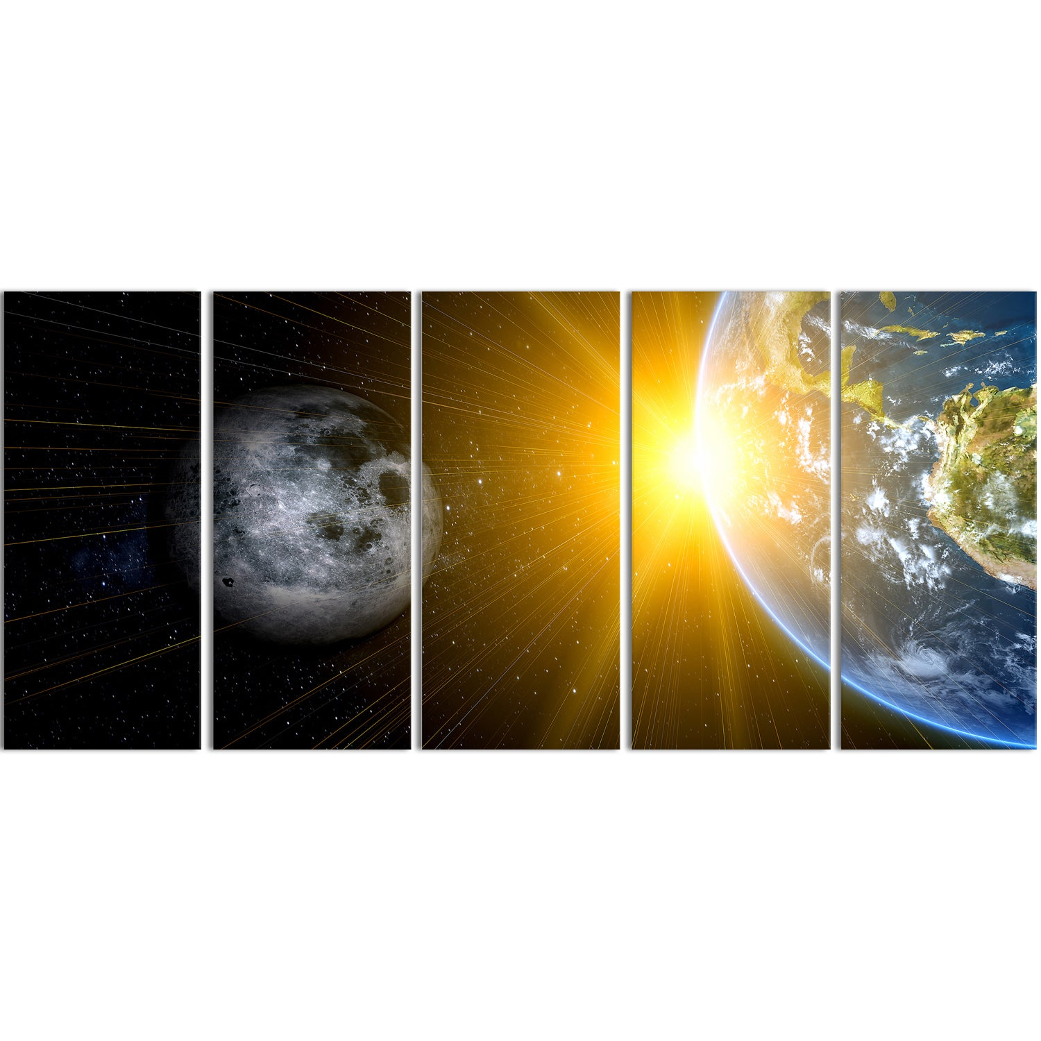 Shop Design Art \'Sun Moon and Earth\' 60 x 28-inch 5-panel Our Worlds ...