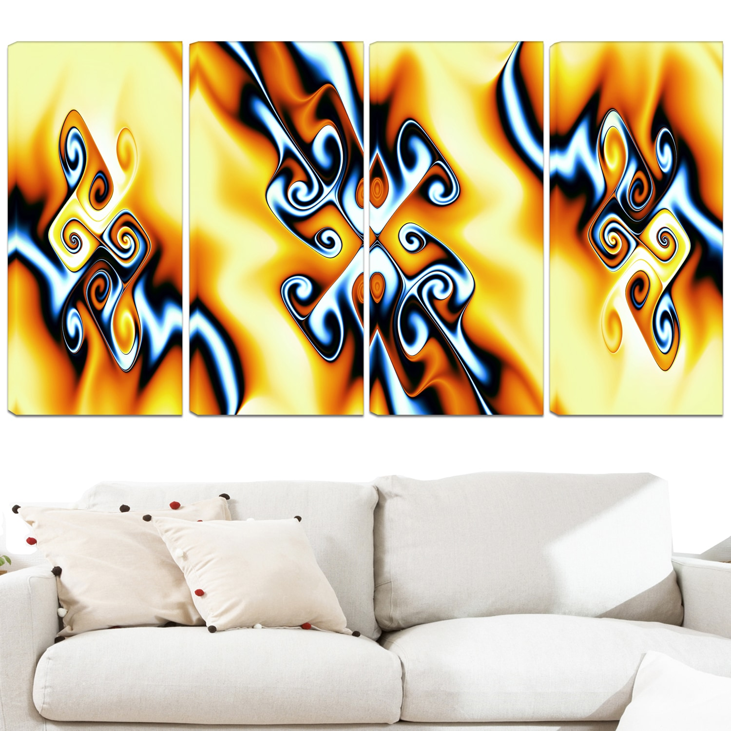 Design Art \'Yellow Squiggles\' 48 x 28-inch 4-panel Abstract Canvas ...