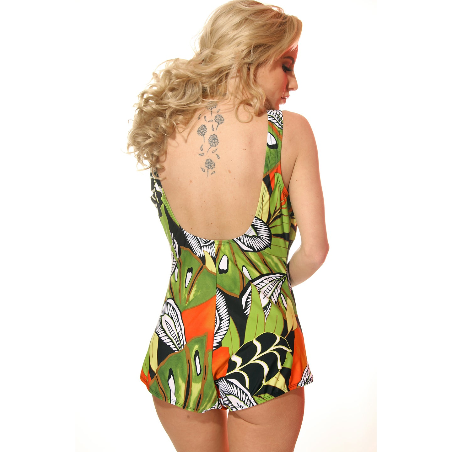 0e86ebcc58a Shop Missy Plus Size Green and Orange Jungle Boy-cut One-piece Bathing Suit  - Free Shipping Today - Overstock - 10327948