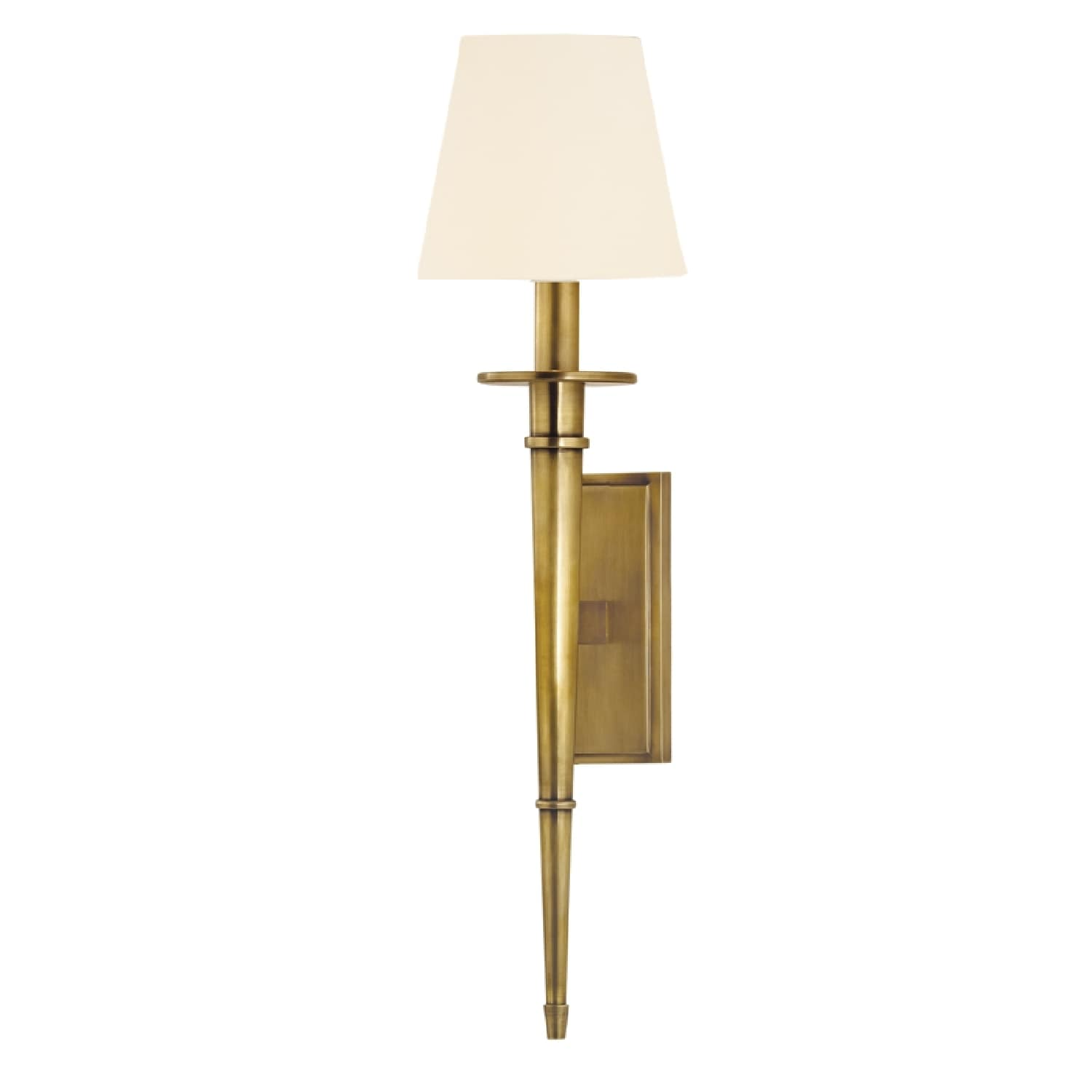 Hudson valley stanford round torch sconce aged brass with white
