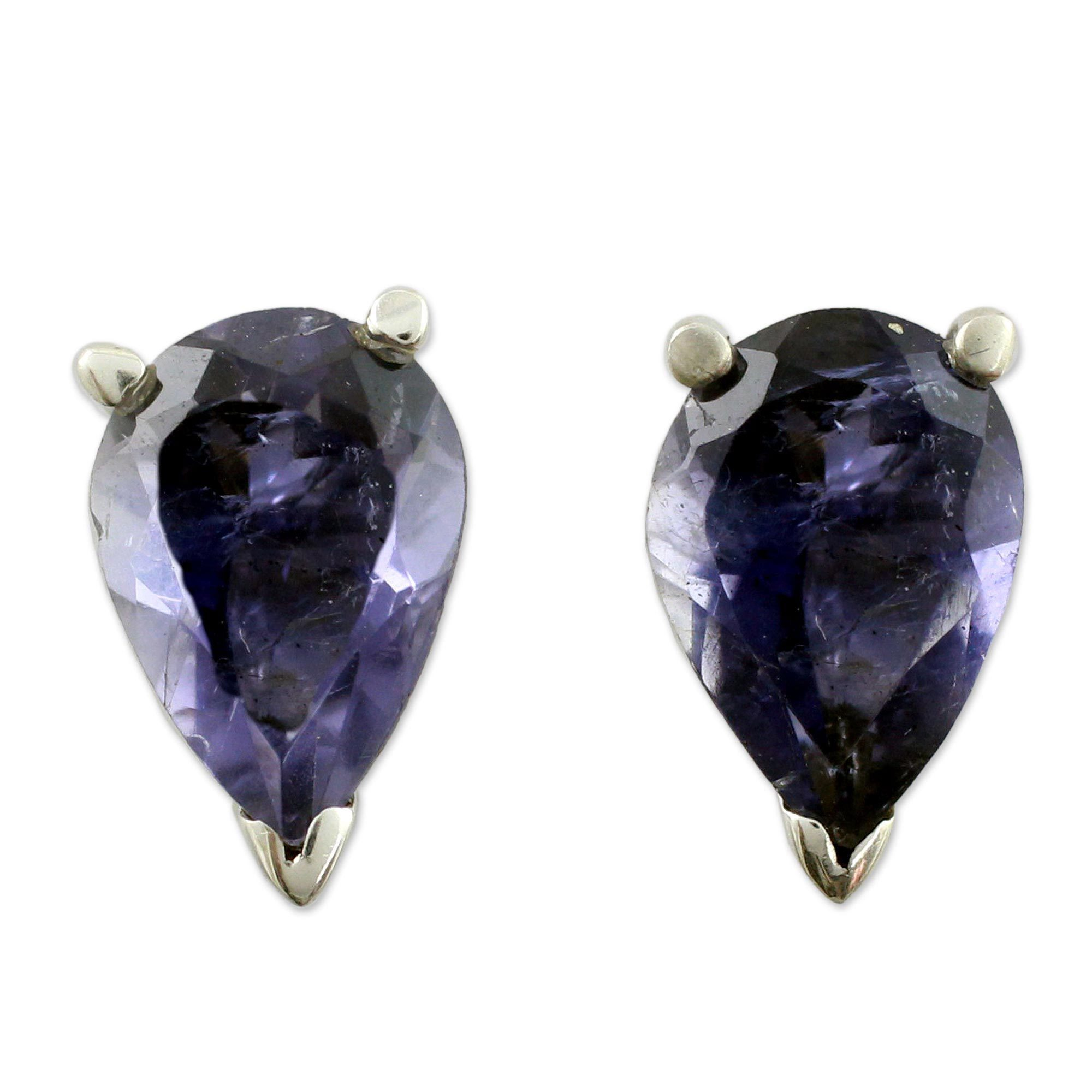 Handmade Sterling Silver Devotion Iolite Earrings India Free Shipping Today 17442574