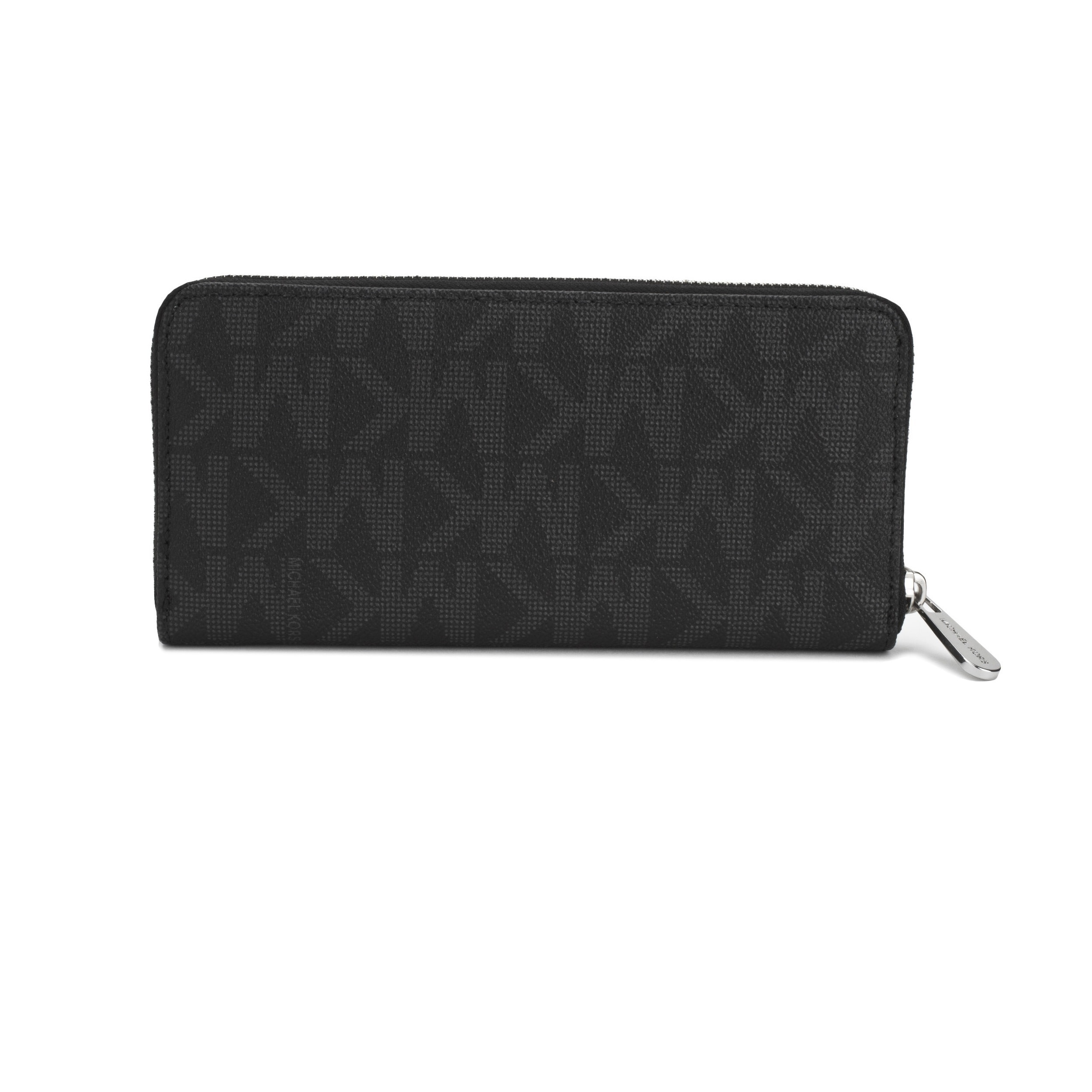 3f1e0c5cd64f4c Shop Michael Kors Jet Set MK Logo Zip Around Black Continental Wallet -  Free Shipping Today - Overstock - 10332016
