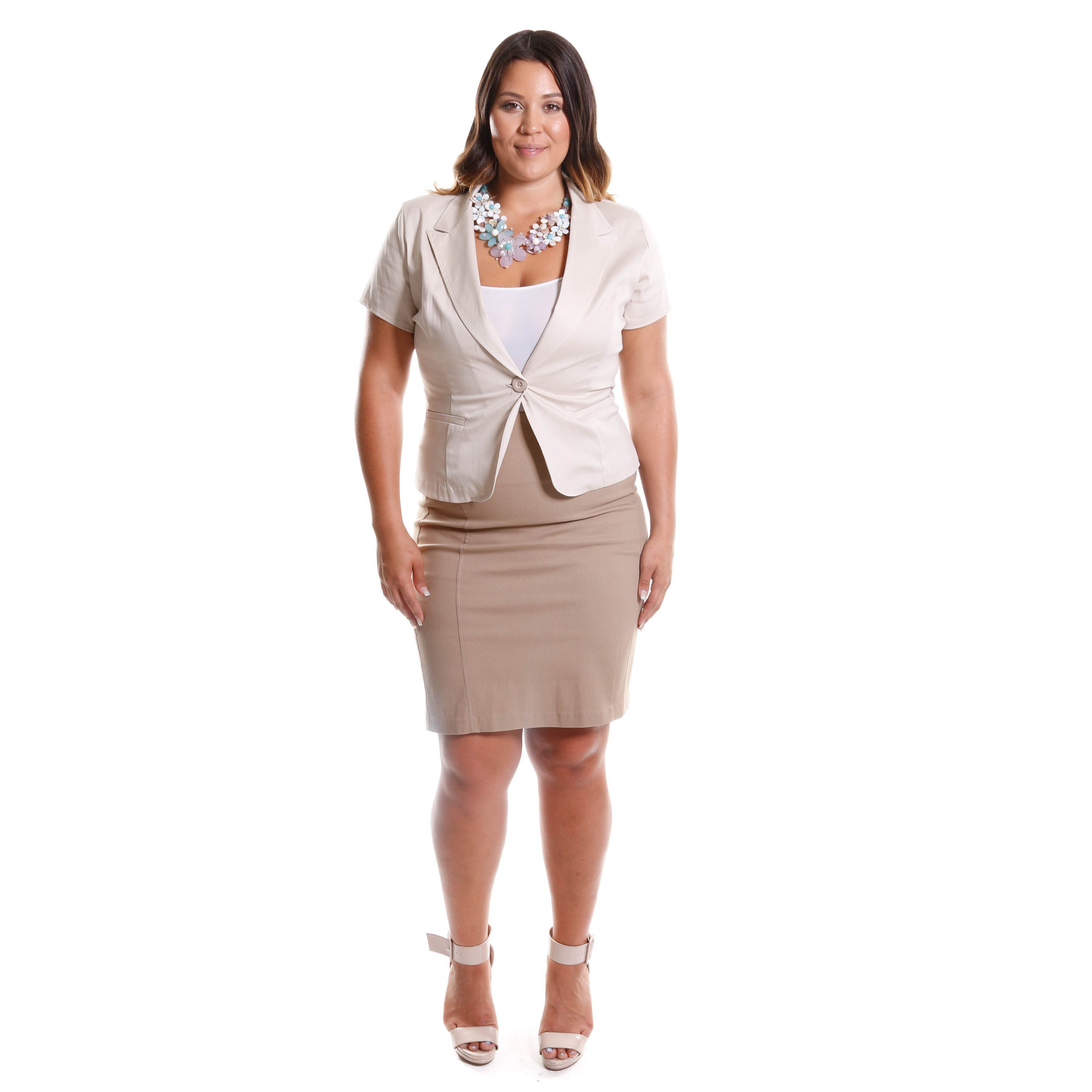 9be933f5b572f Shop Hadari Women s Contemporary Plus Size Short Sleeve Blazer - Free  Shipping On Orders Over  45 - Overstock - 10332466