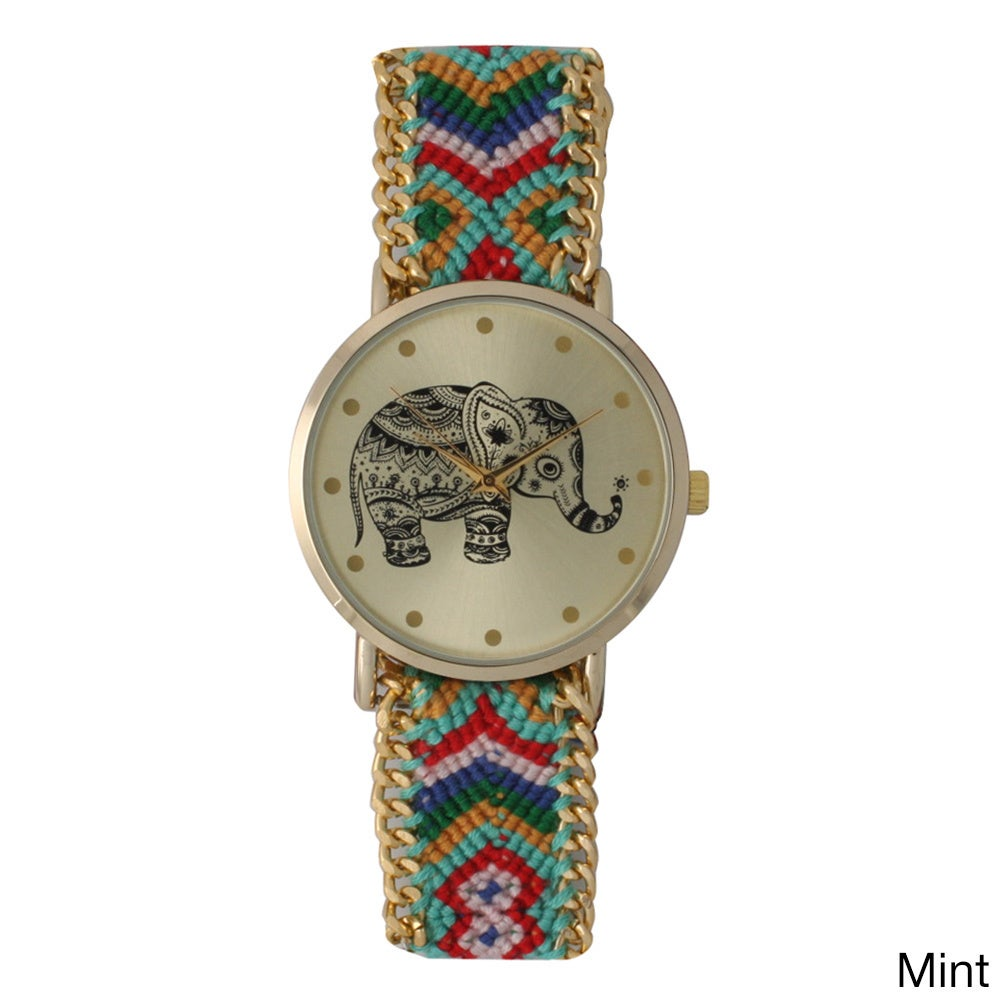b95b1a4fc Shop Olivia Pratt Women's Tribal Elephant Braided Band Watch - On Sale -  Free Shipping On Orders Over $45 - Overstock - 10332818
