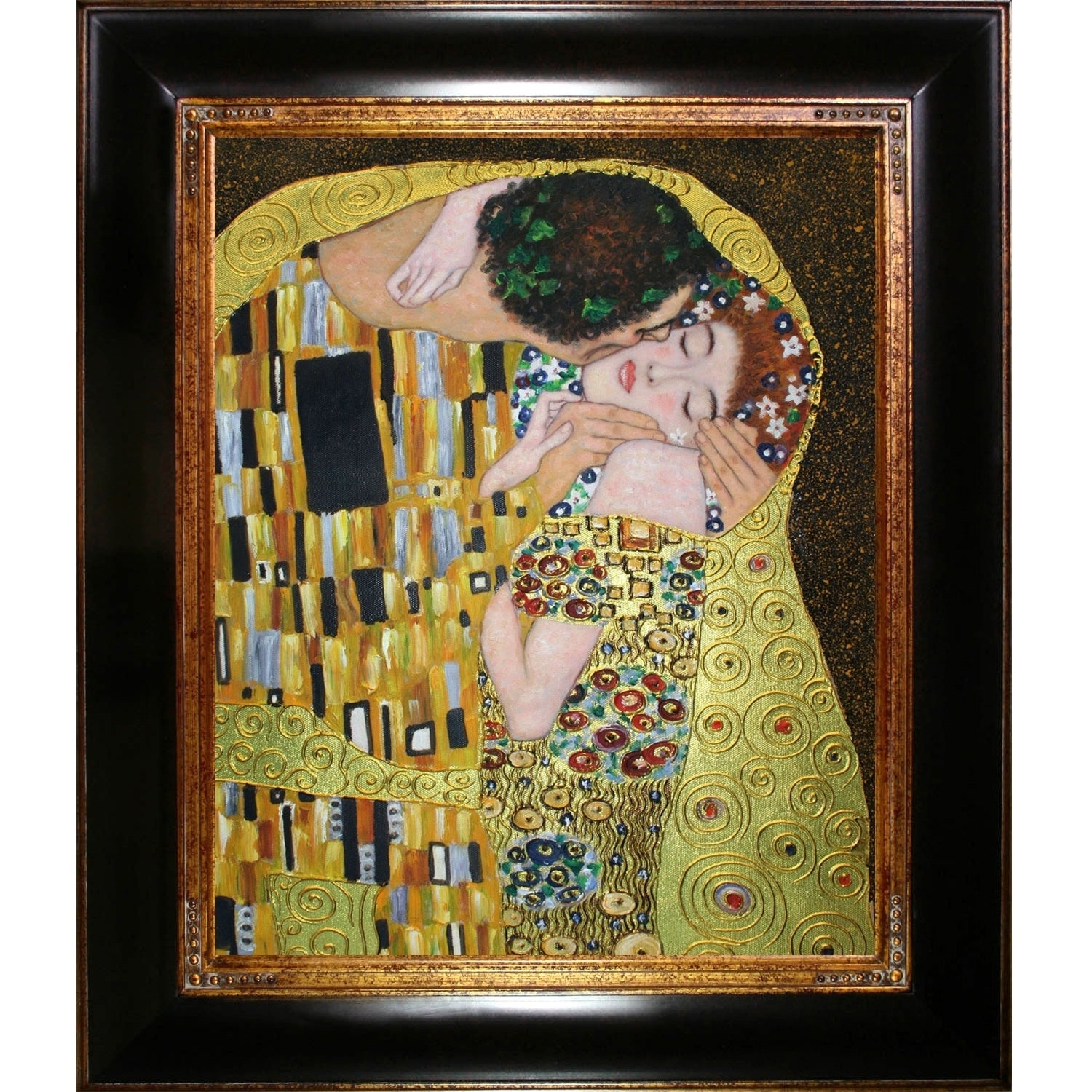 Gustav Klimt \'The Kiss\' (Luxury Line) Hand Painted Framed Canvas Art ...